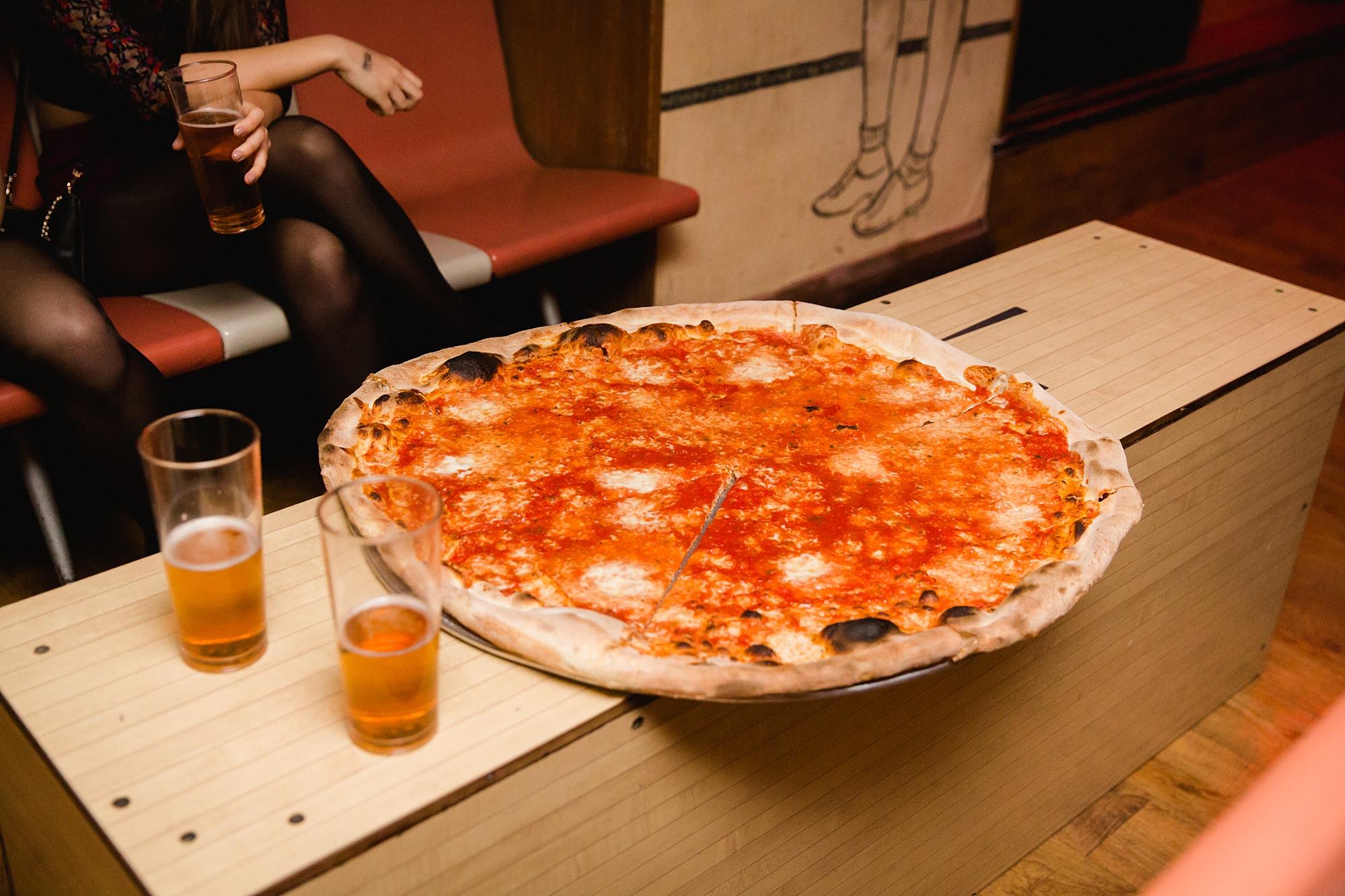 fun london wedding bowling giant pizza