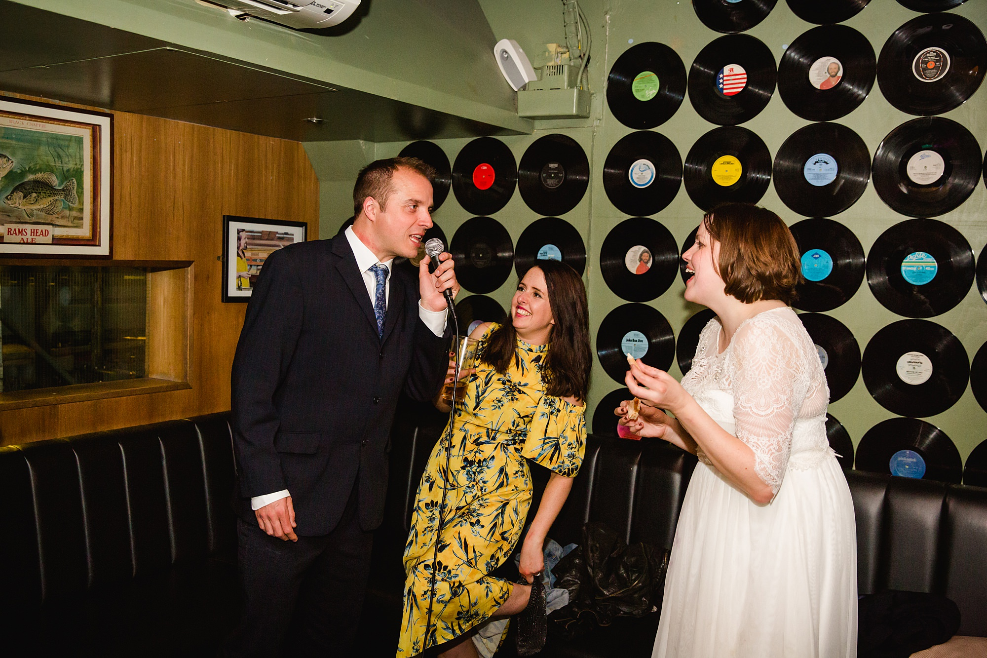 fun london wedding bowling guests sing karaoke