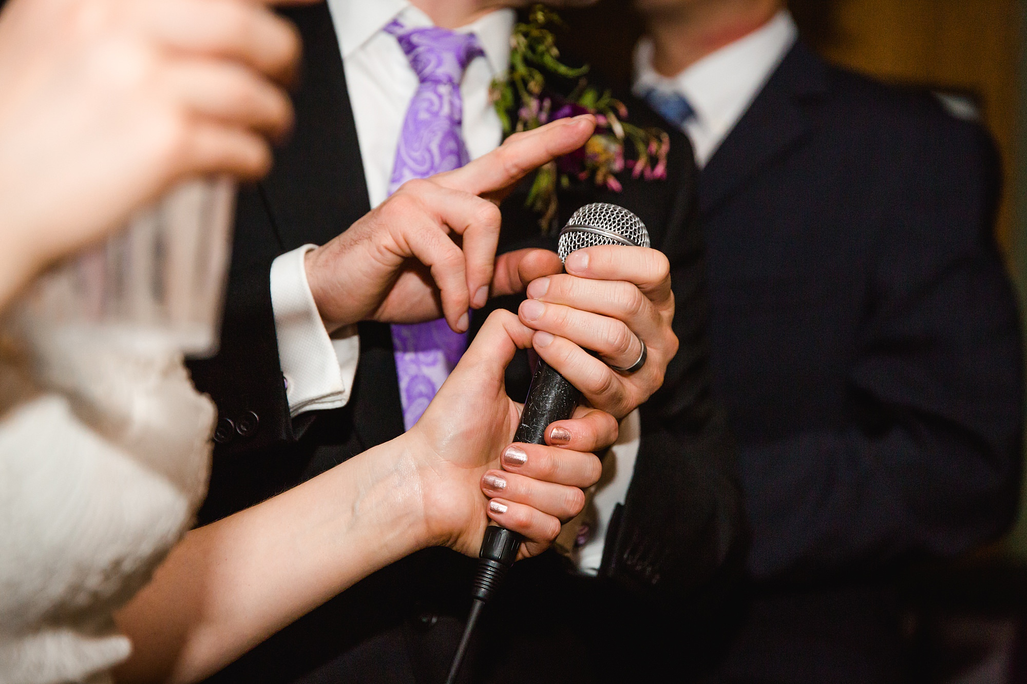 fun london wedding bowling hands holding microphone