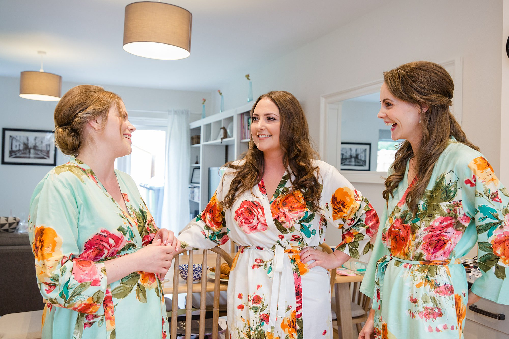 fun outdoor wedding bride and bridesmaids in kimonos
