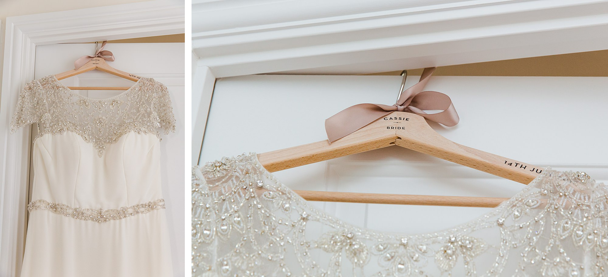 fun outdoor wedding bride's dress on custom hanger