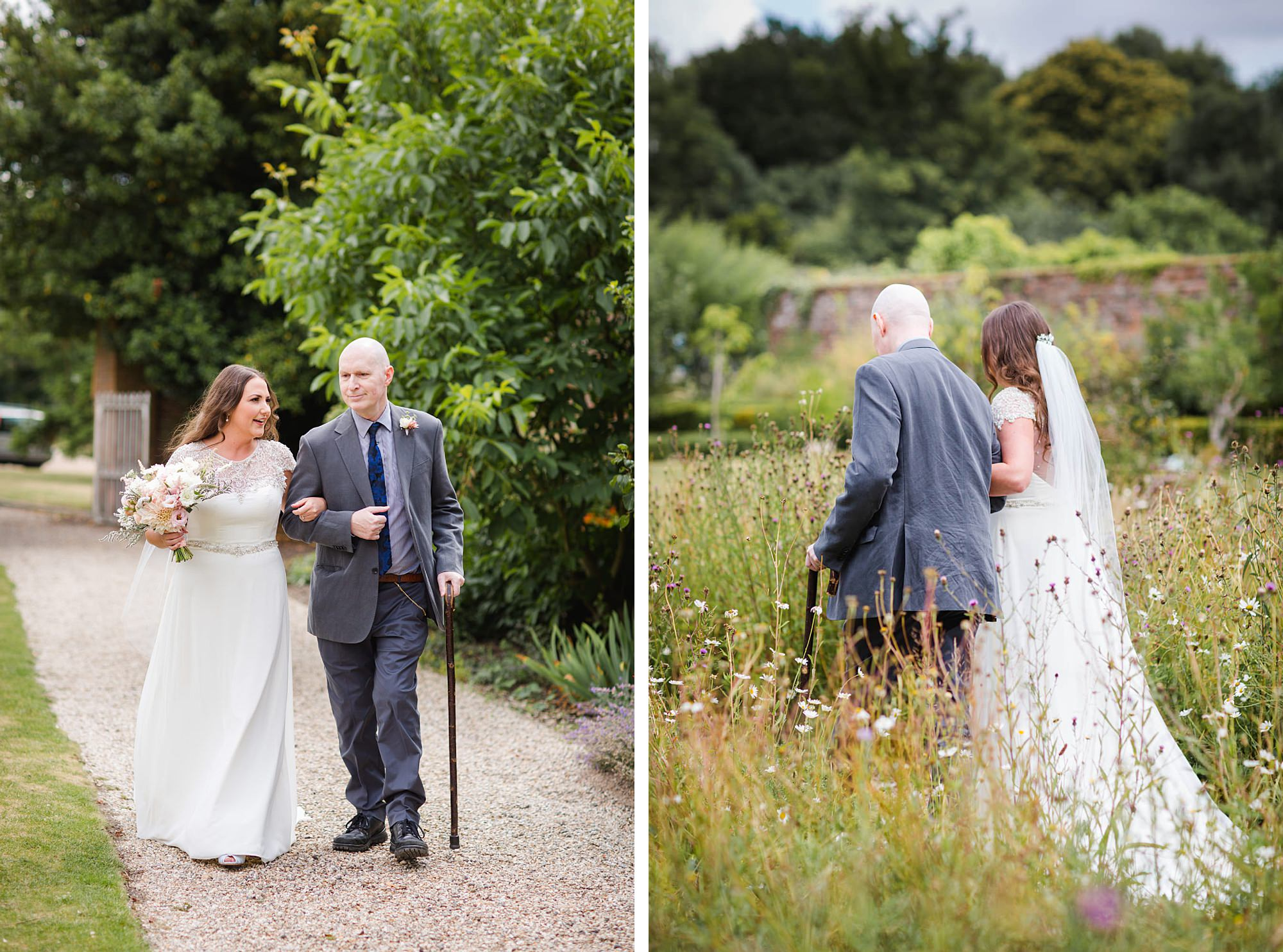 fun outdoor wedding bride and her father walk down aisle