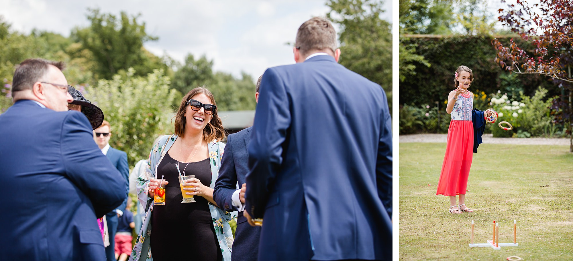 fun outdoor wedding guests laughing and playing garden games