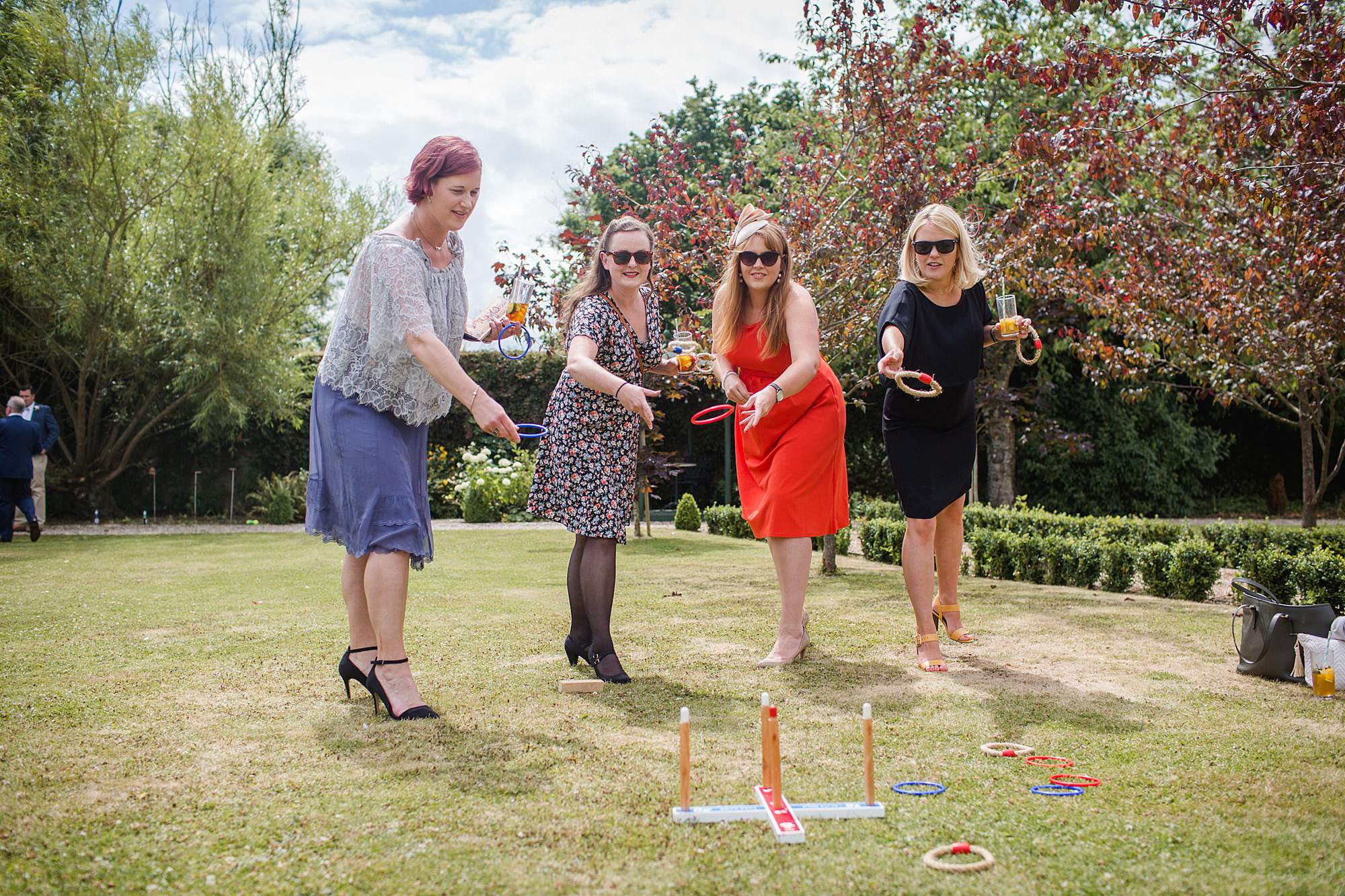 fun outdoor wedding guests playing garden games