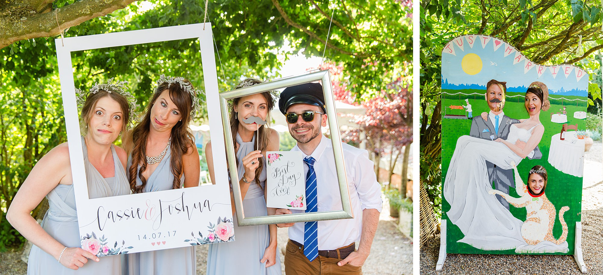 fun outdoor wedding guests enjoying photo frame