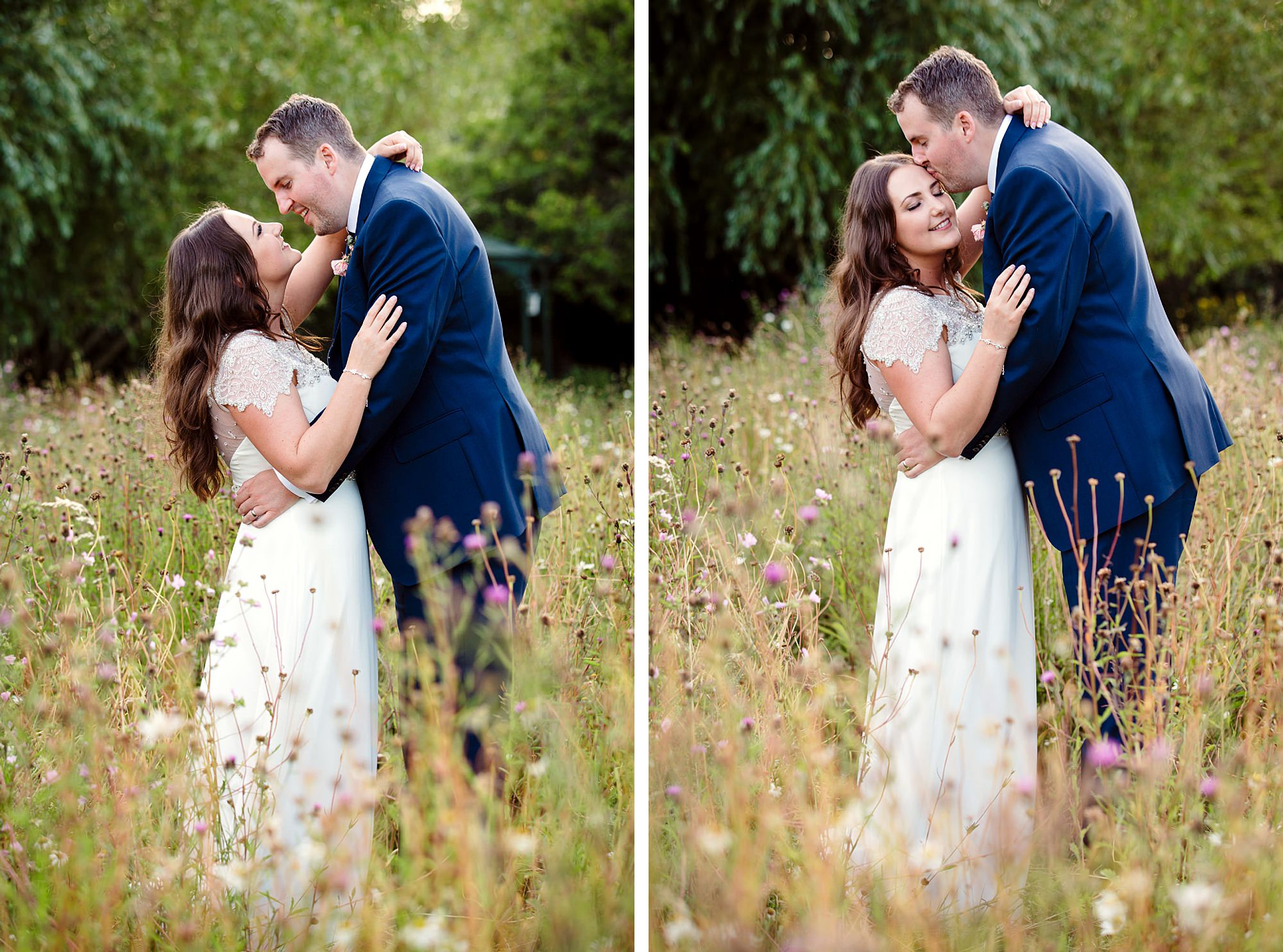 fun outdoor wedding bride and groom in grasses