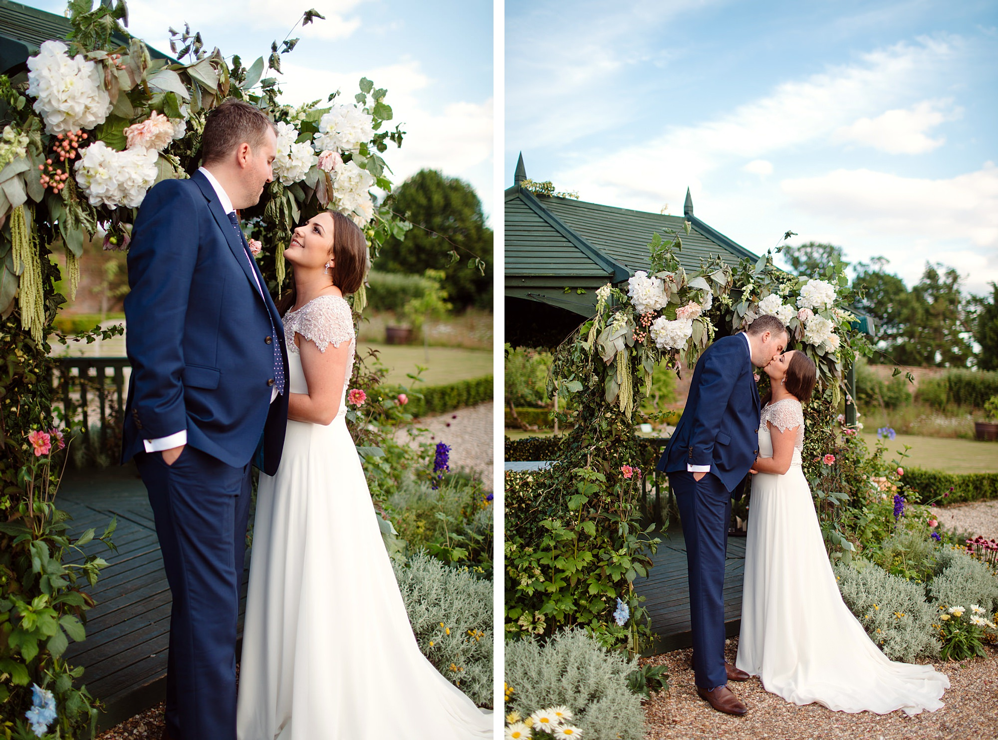 fun outdoor wedding bride and groom at secret garden gazebo
