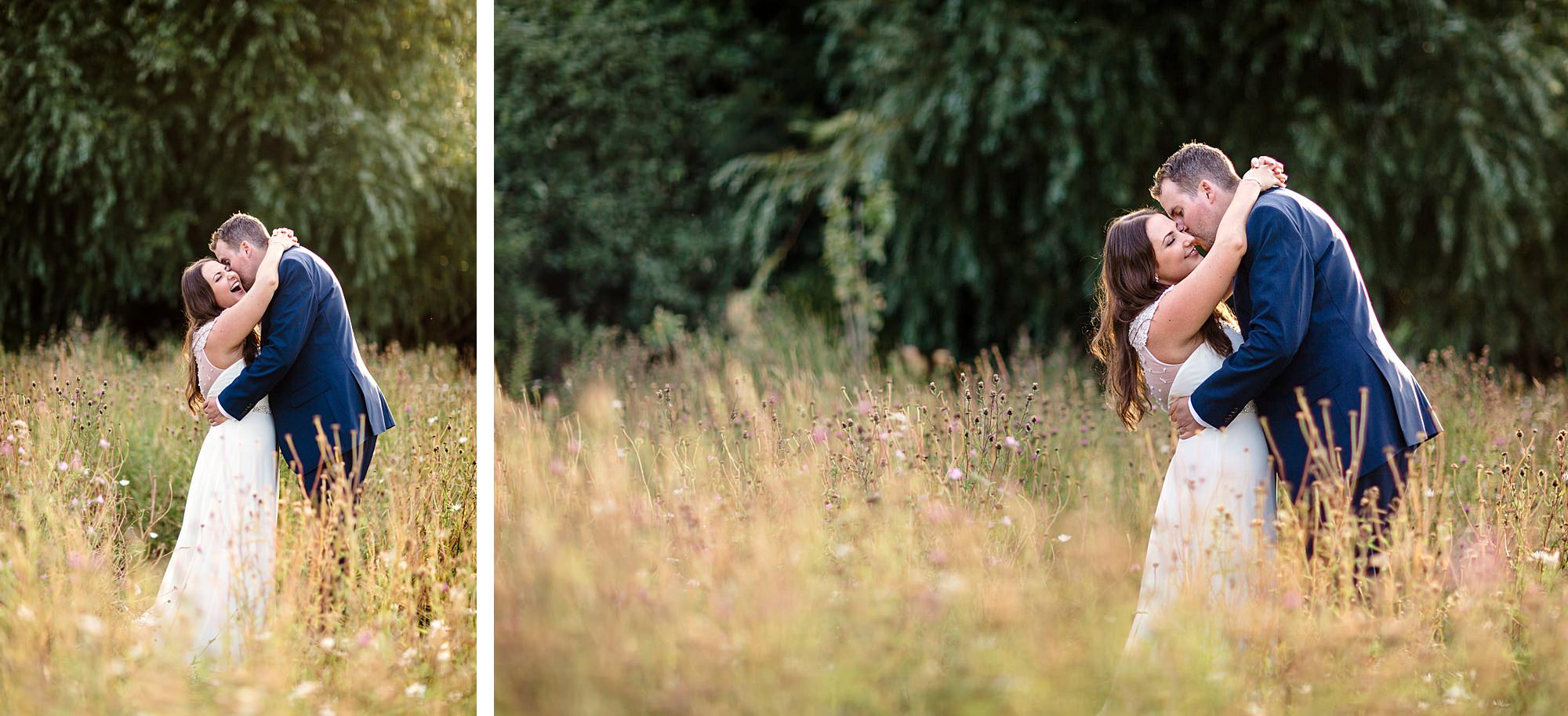 fun outdoor wedding bride and groom in wild grass
