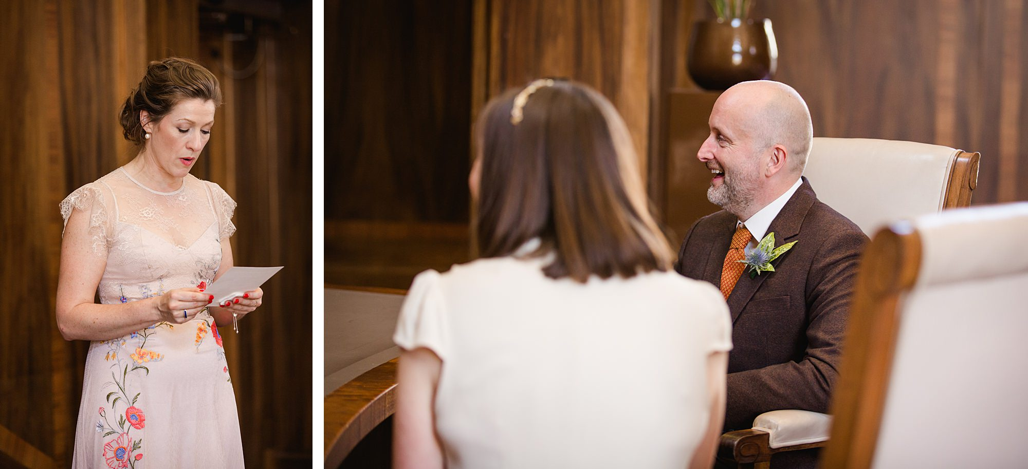 Clapton Country Club wedding photography couple listen to reading
