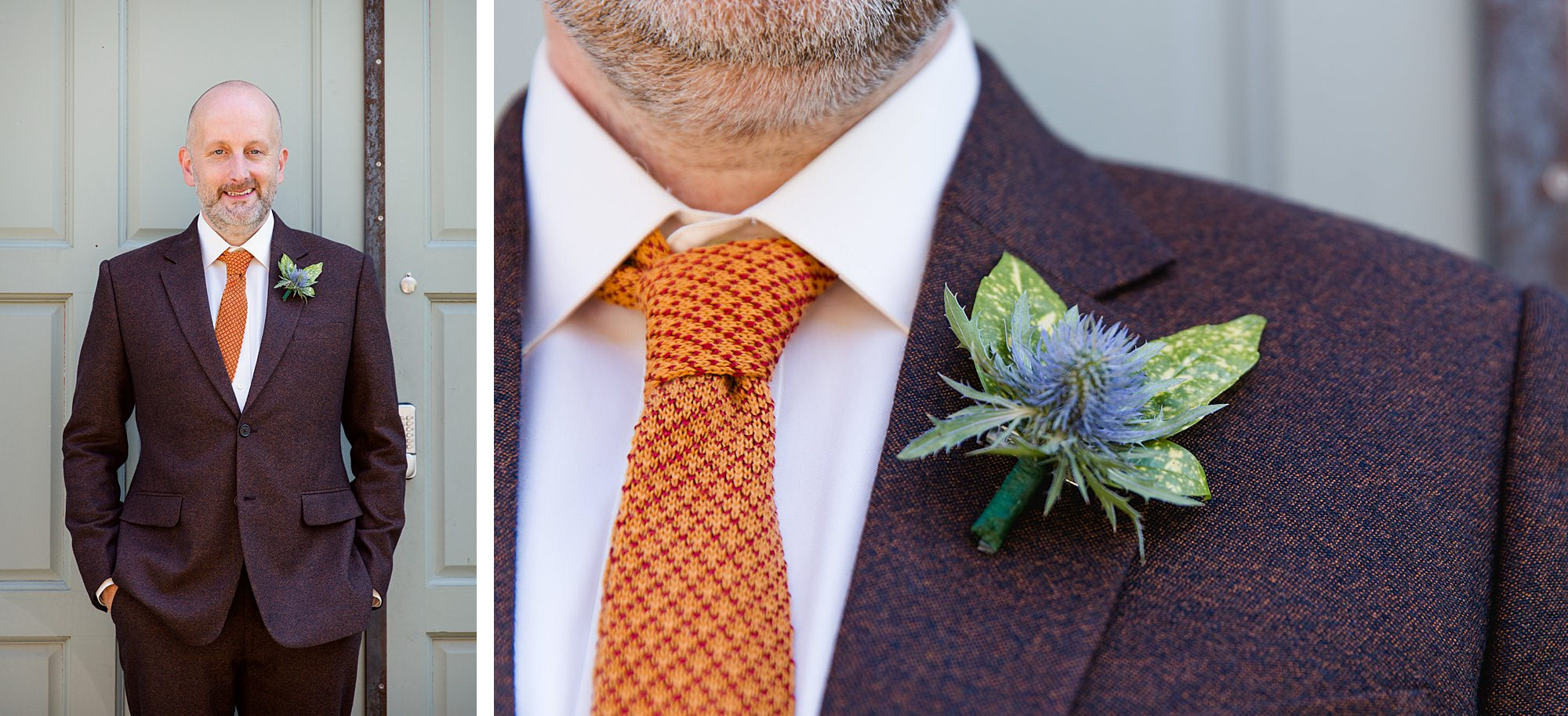 Clapton Country Club wedding photography portrait of groom and thistle buttonhole