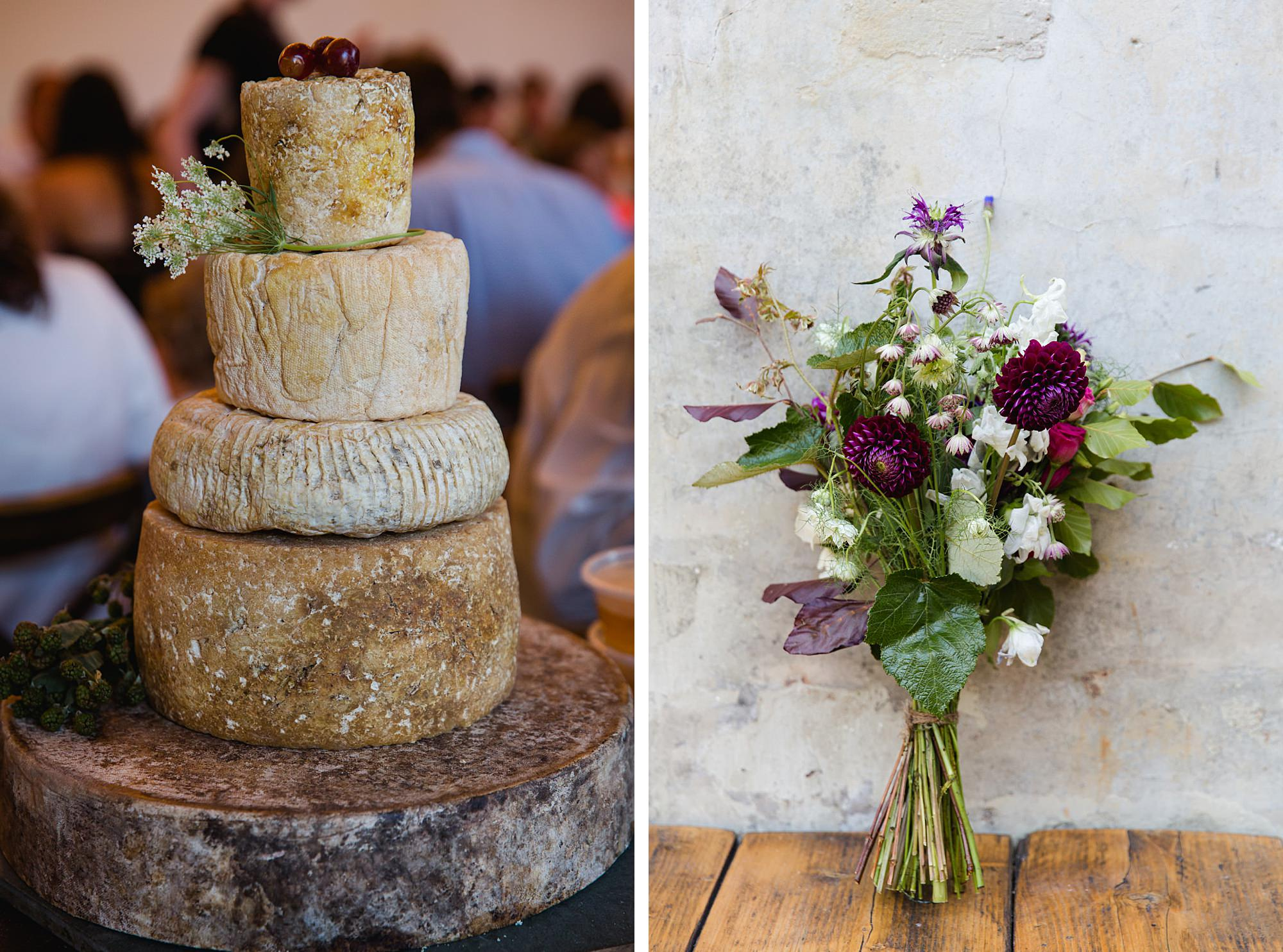 Clapton Country Club wedding photography cheese cake and bouquet