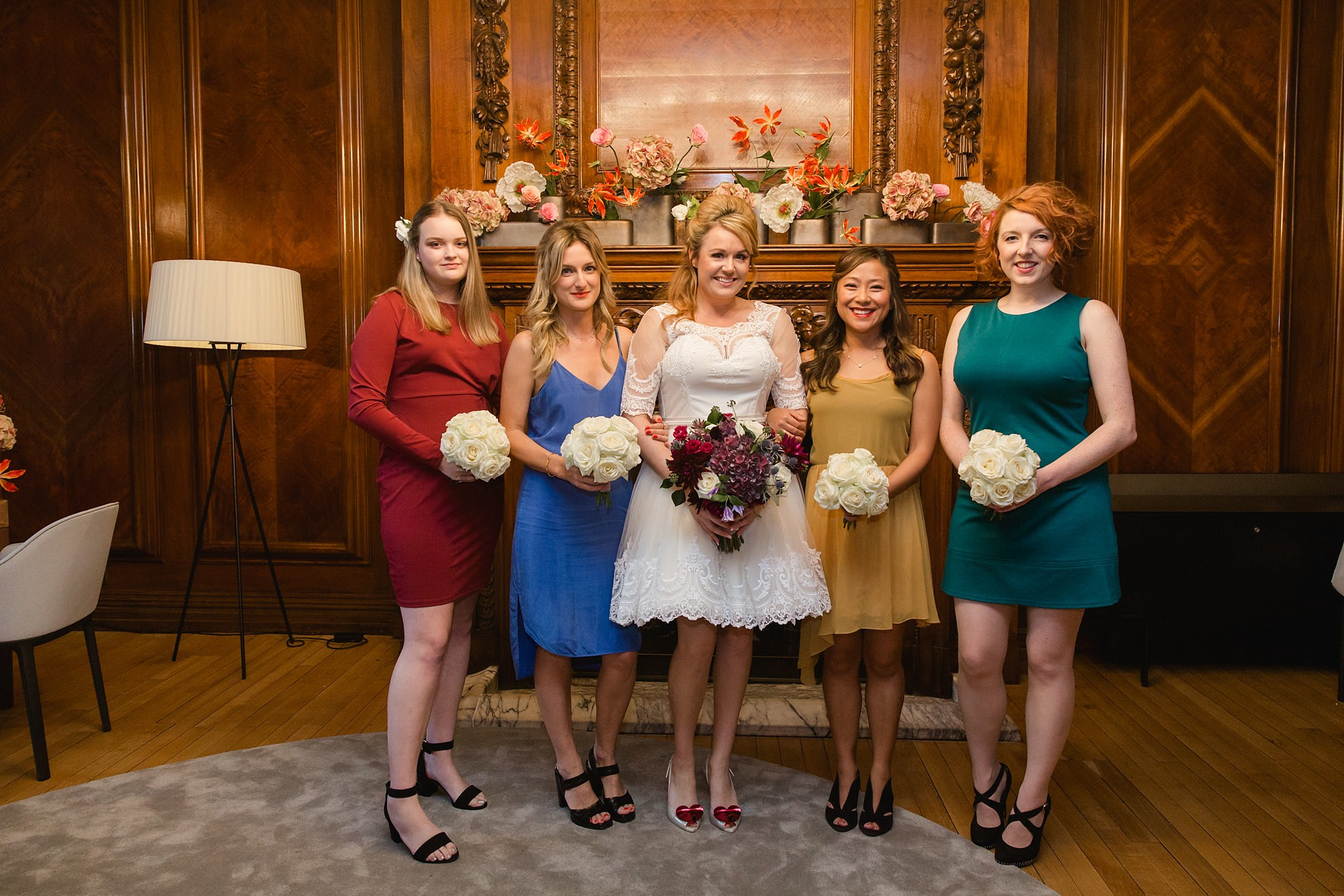 Old Marylebone Town Hall wedding photography bride and bridesmaids