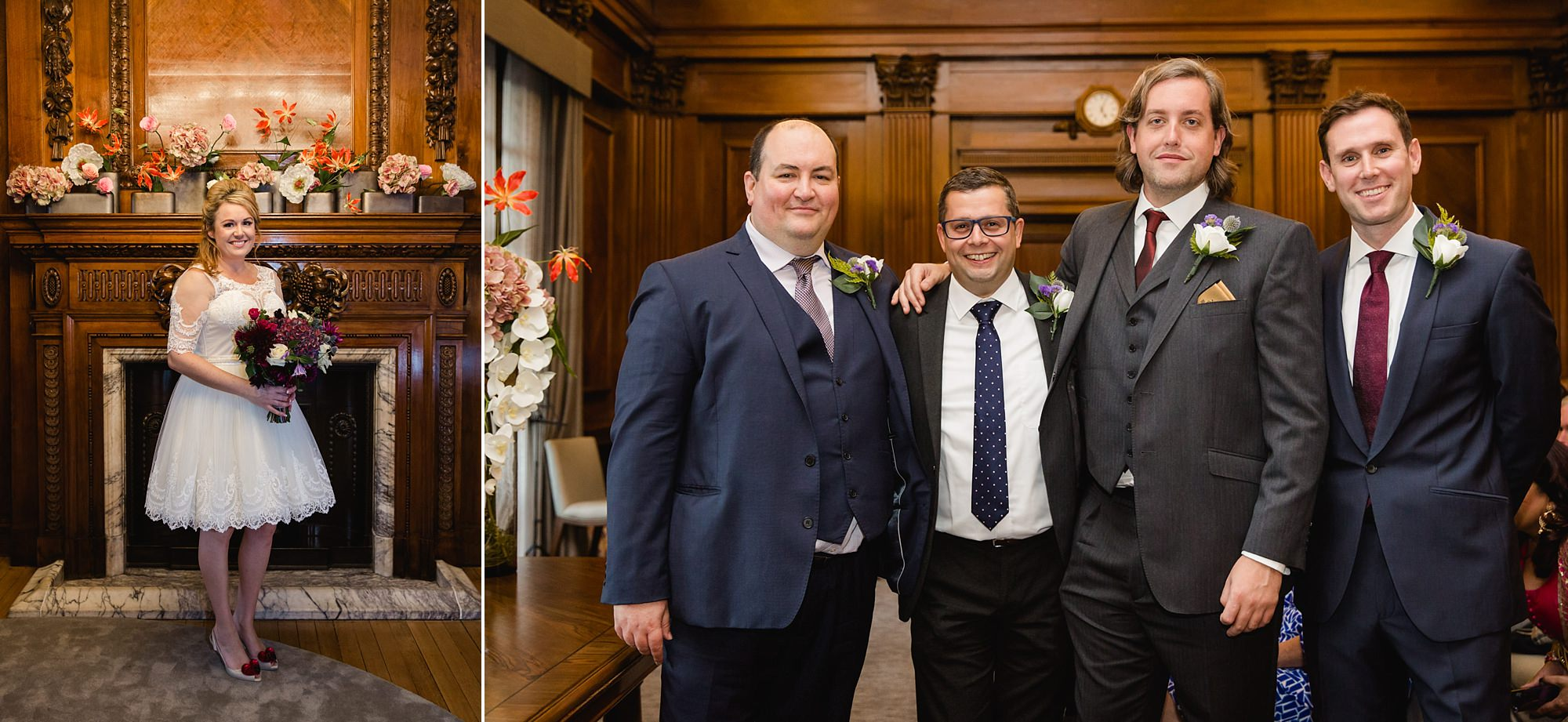 Old Marylebone Town Hall wedding photography portrait of bride and groomsmen