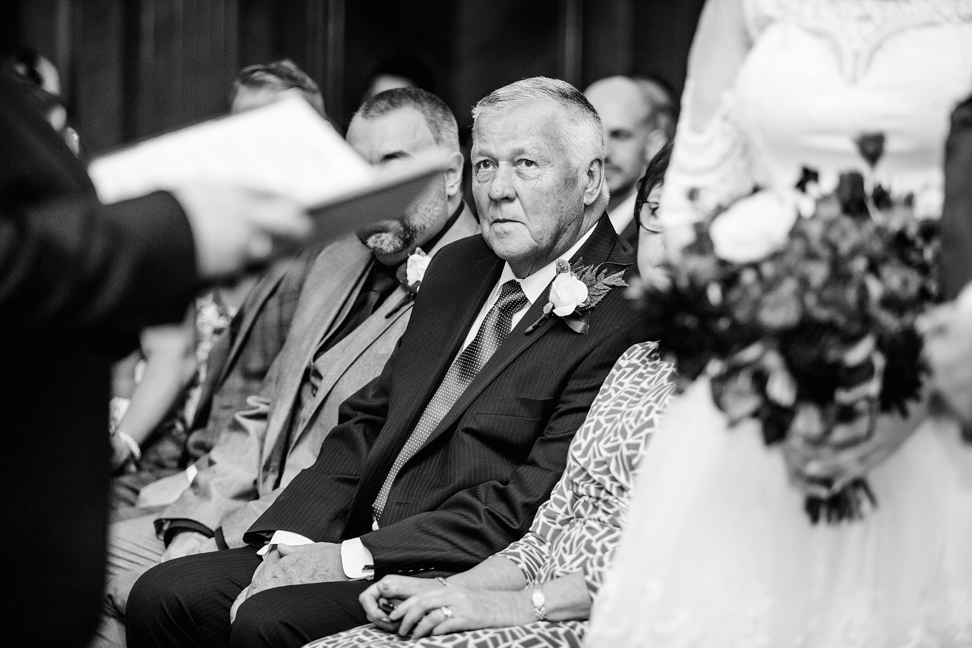 Old Marylebone Town Hall wedding photography father of bride watching ceremony