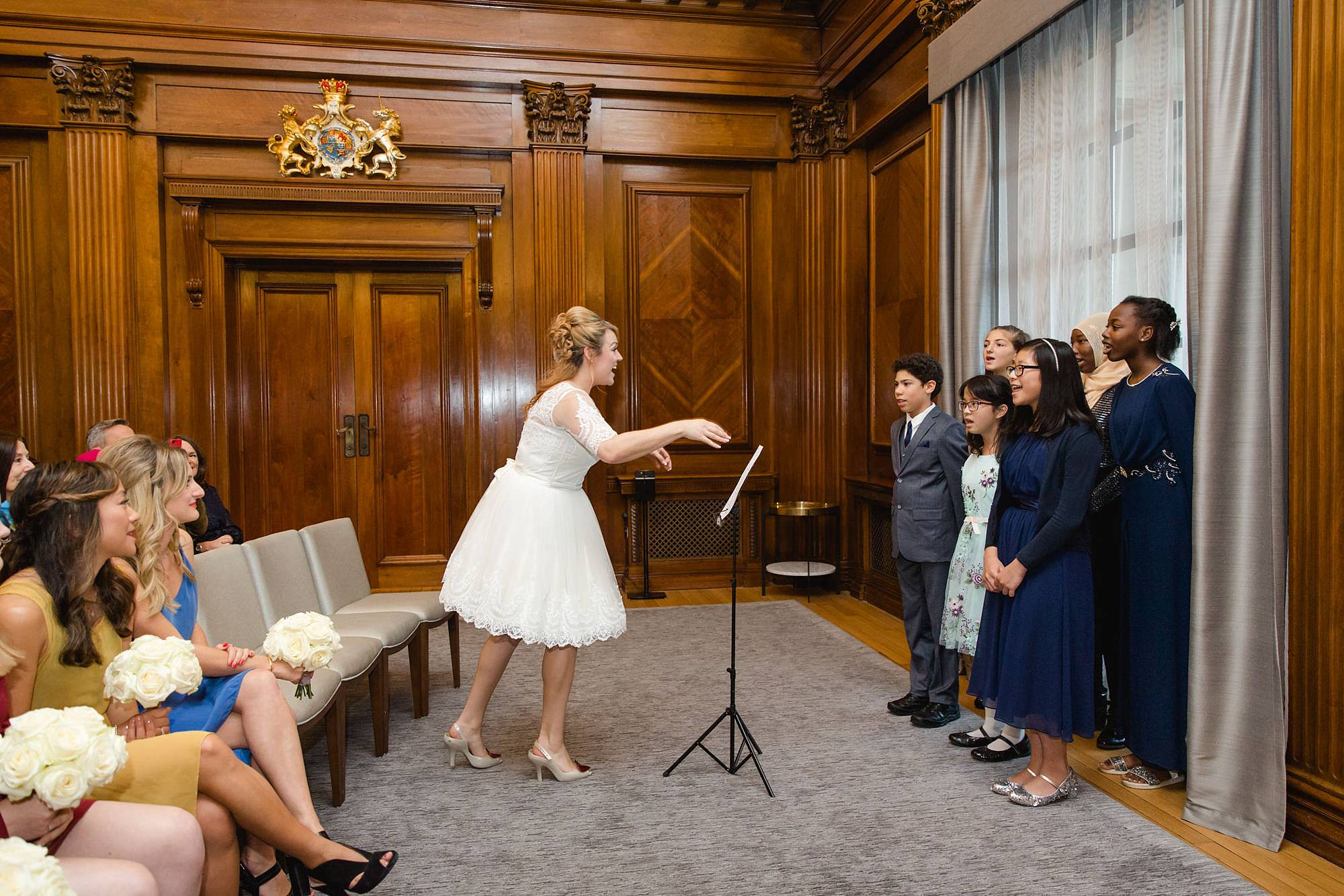 Old Marylebone Town Hall wedding photography bride and choir