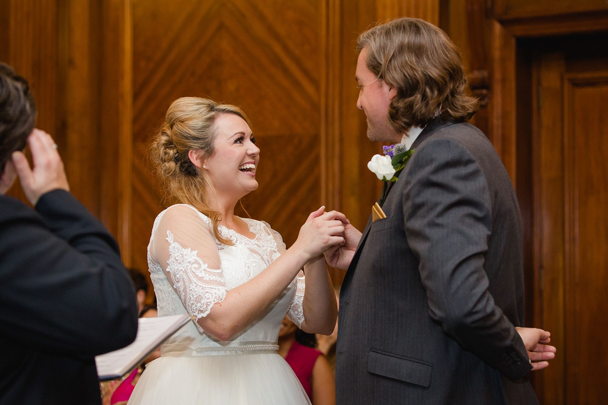 Old Marylebone Town Hall wedding photography couple exchange vows