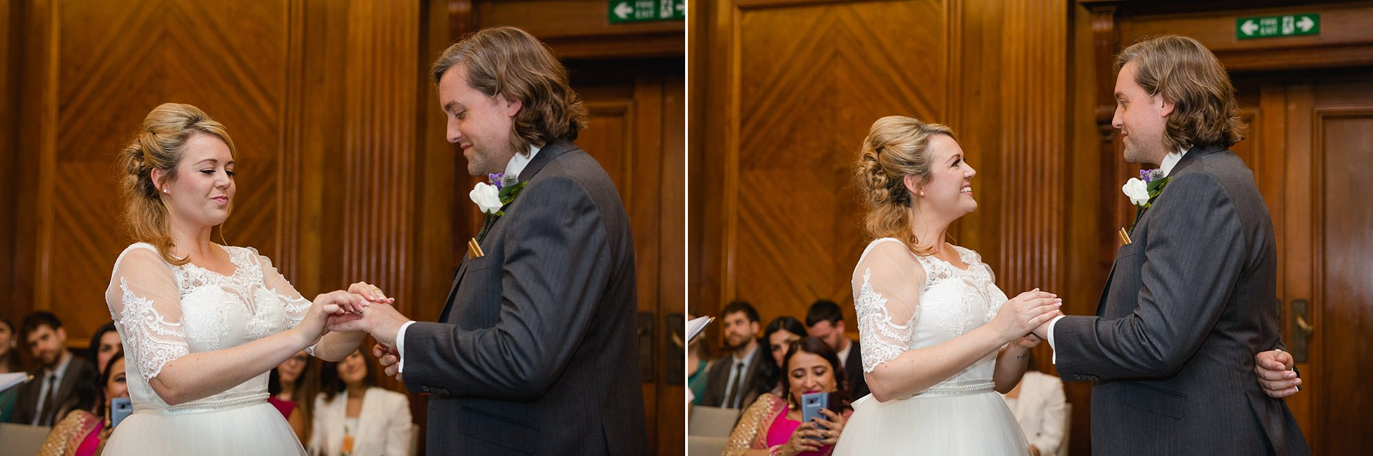 Old Marylebone Town Hall wedding photography couple exchange rings