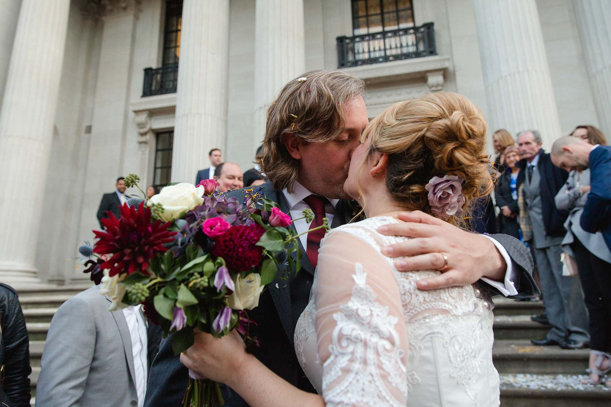 Old Marylebone Town Hall wedding photography couple kiss
