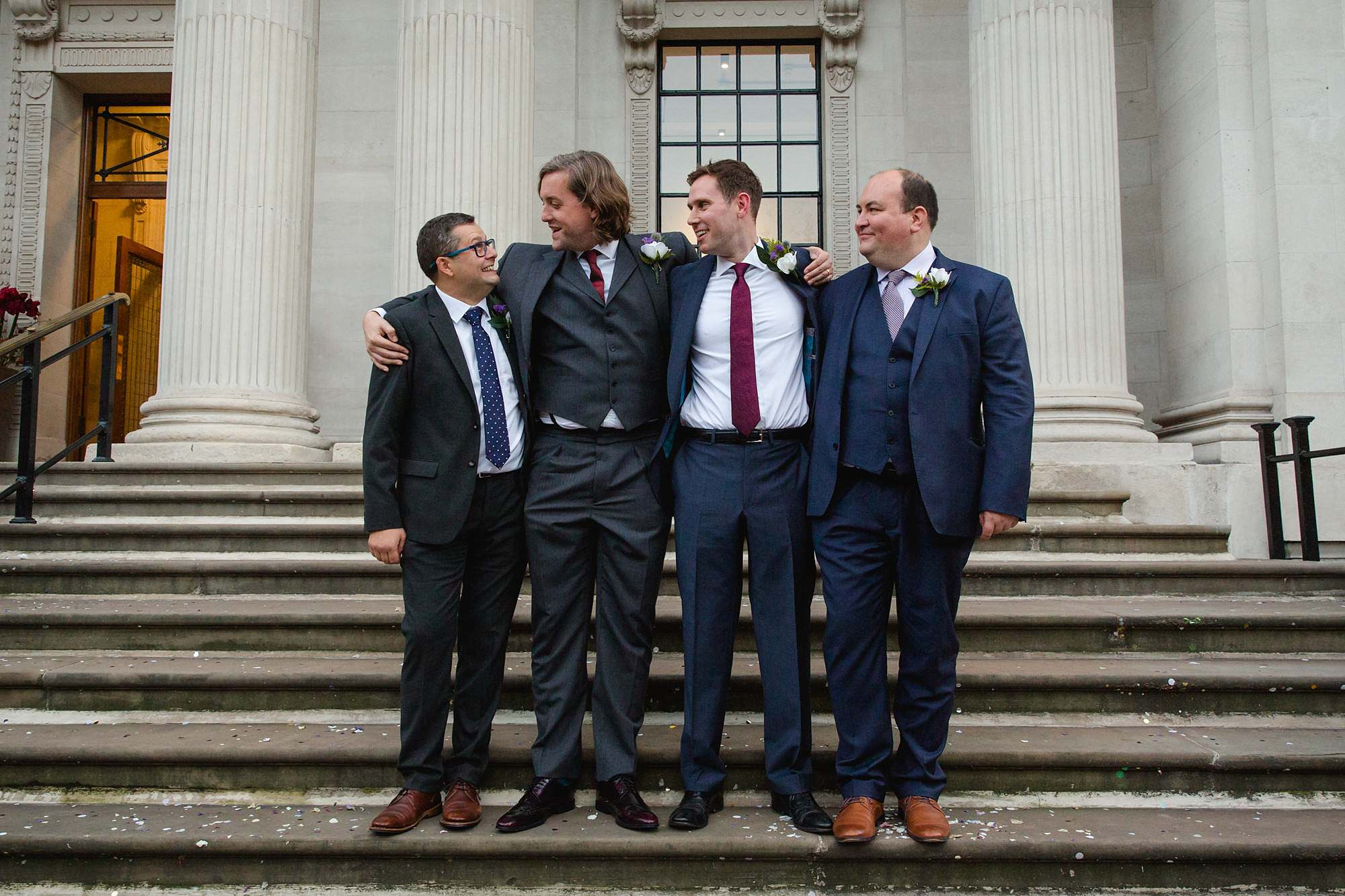 Old Marylebone Town Hall wedding photography groom and groomsmen
