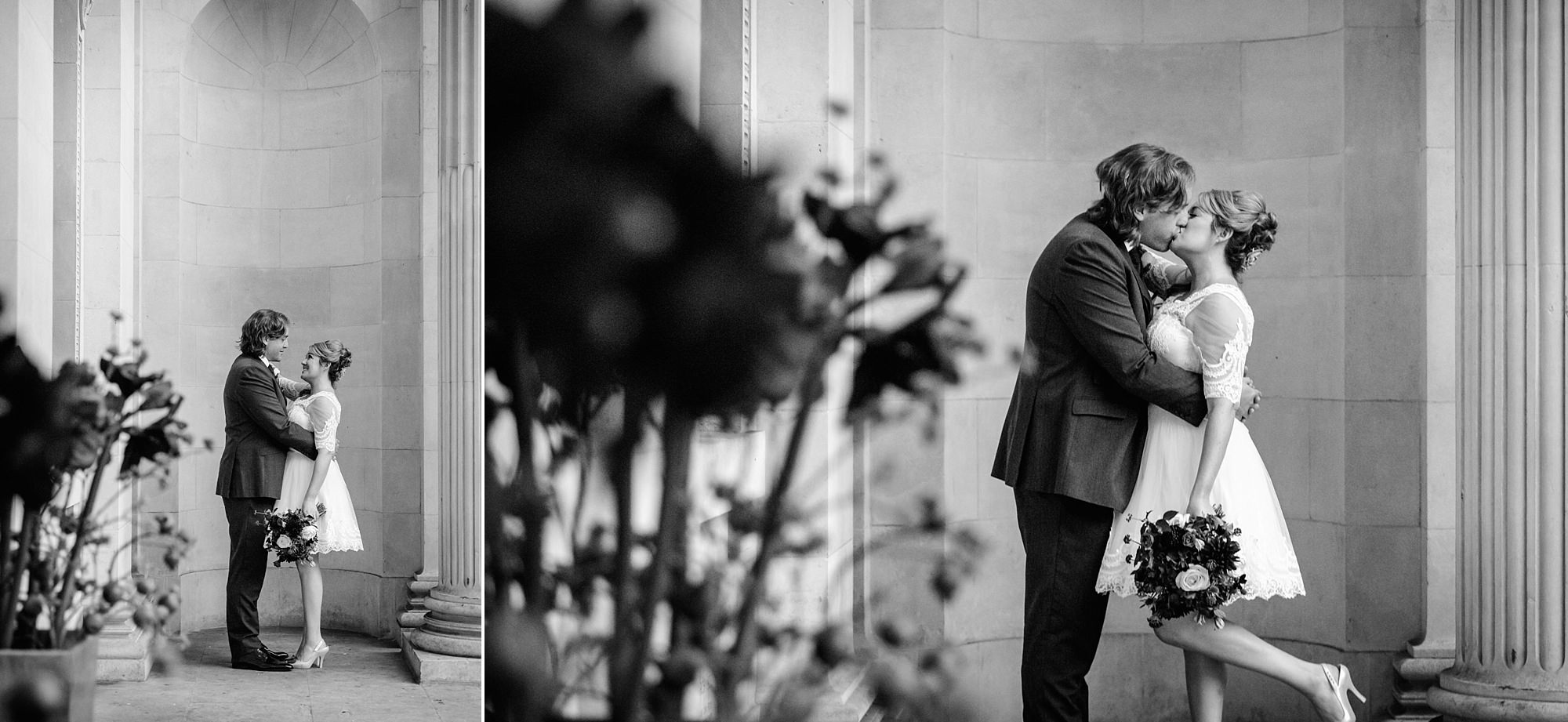 Old Marylebone Town Hall wedding photography bride and groom kiss