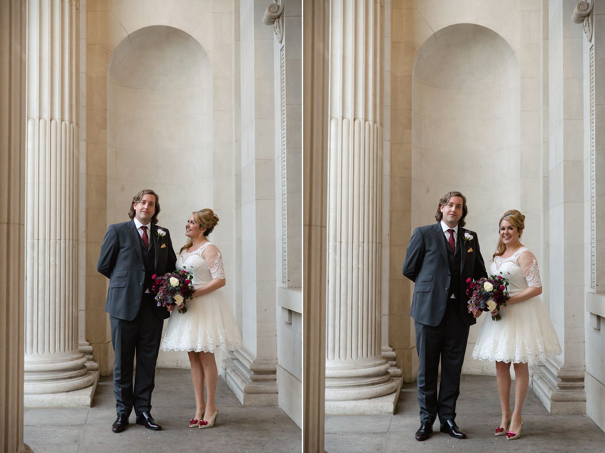 Old Marylebone Town Hall wedding photography bride and groom by columns
