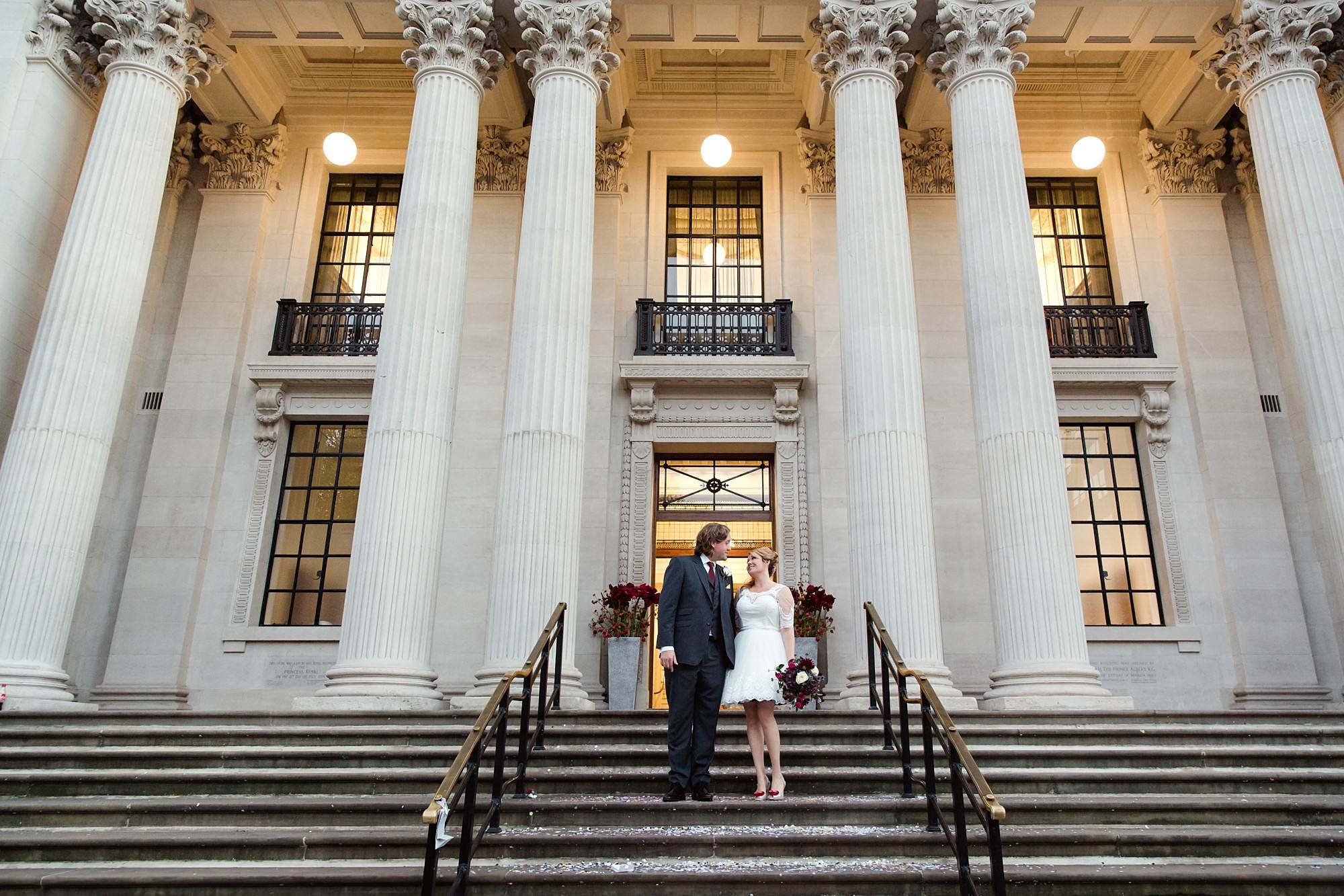 Old Marylebone Town Hall wedding photography bride and groom on town hall steps