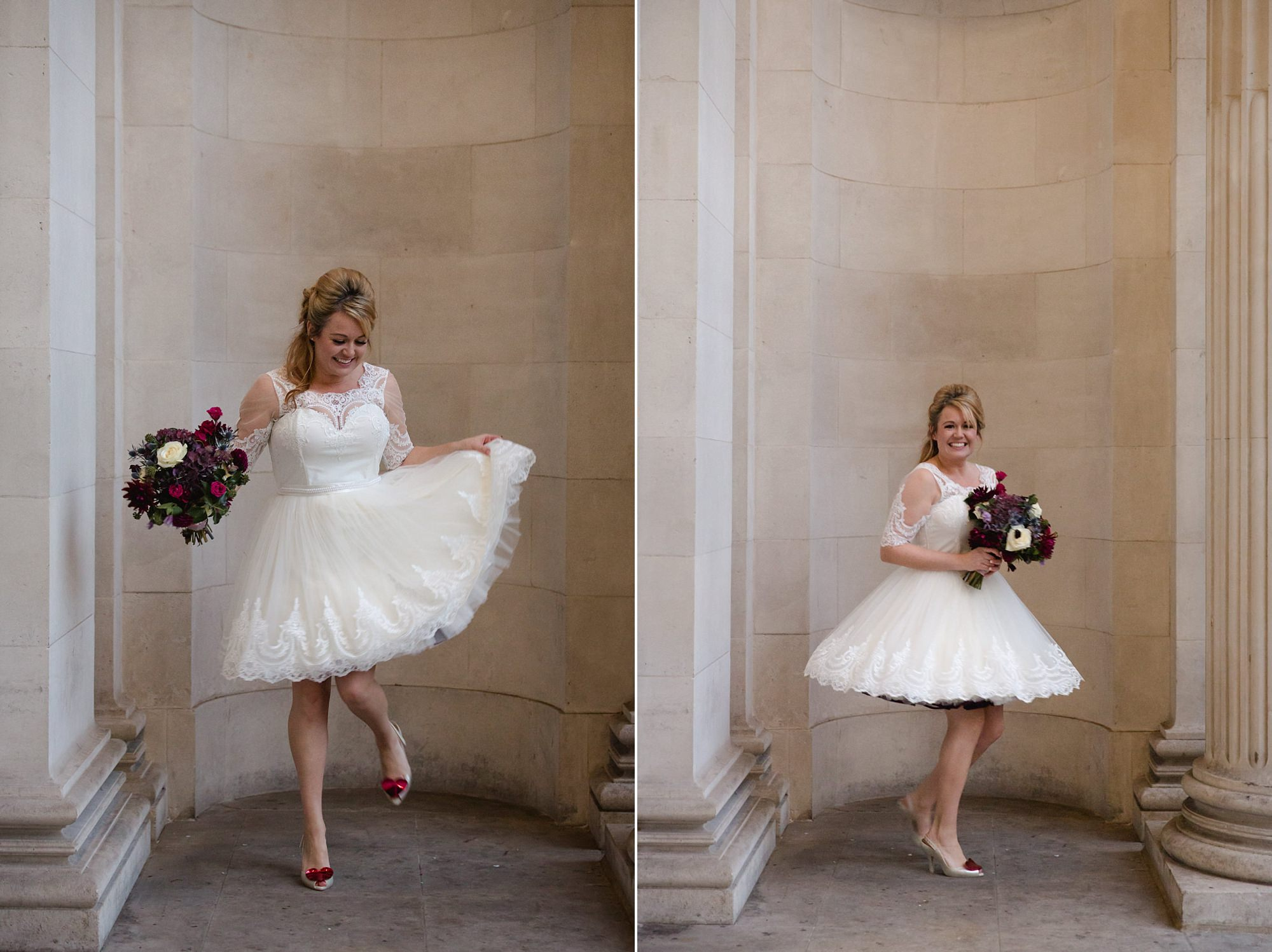 Old Marylebone Town Hall wedding photography bride twirling