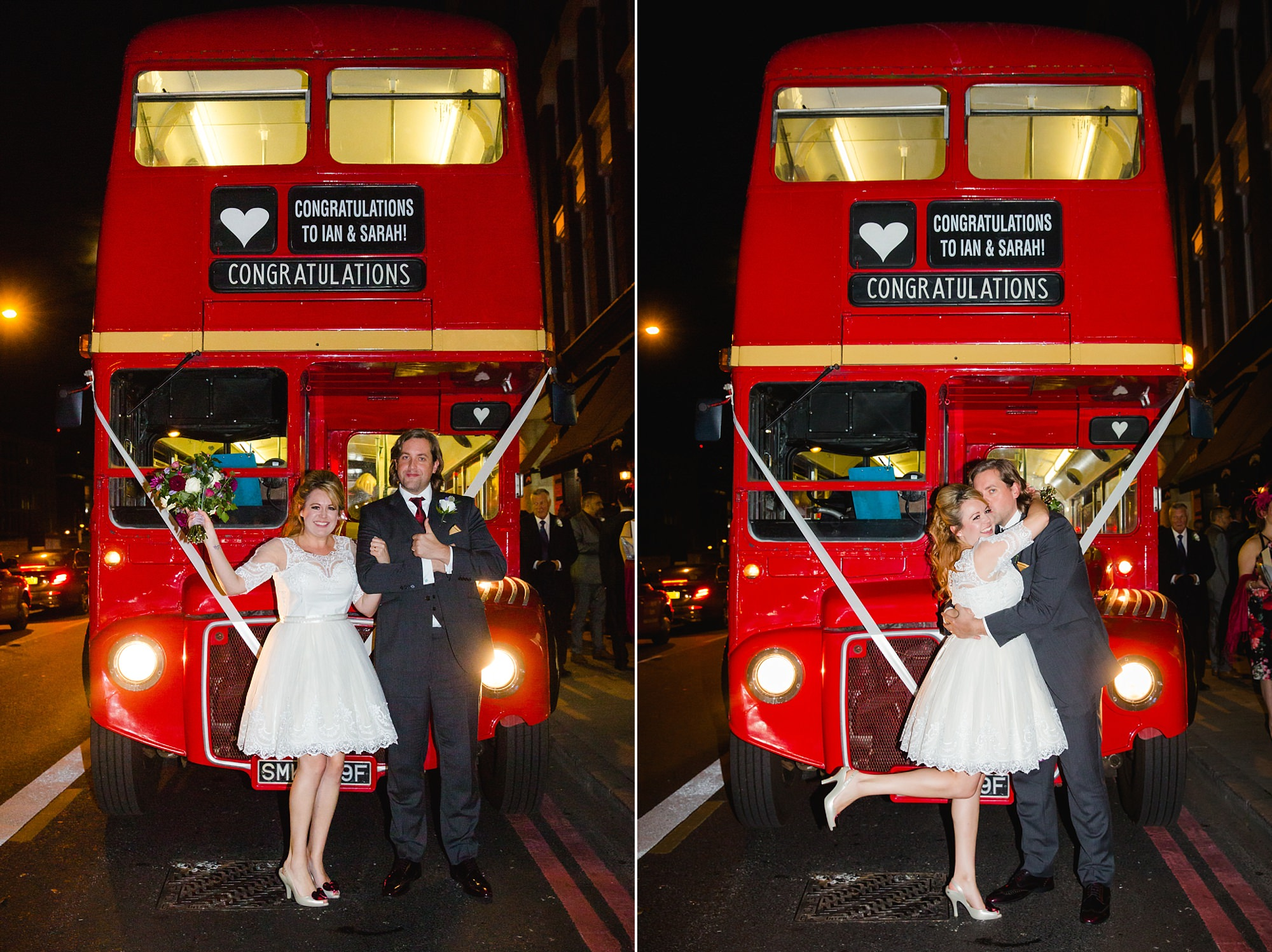 Old Marylebone Town Hall wedding photography bride and groom in front of wedding bus