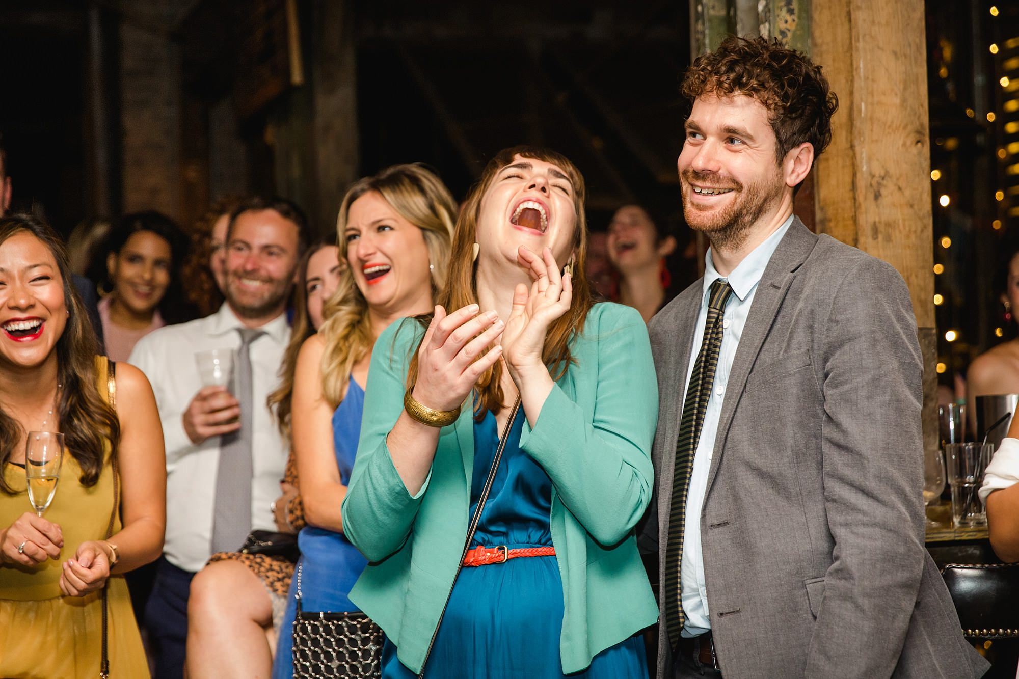 Old Marylebone Town Hall wedding photography guests laughing