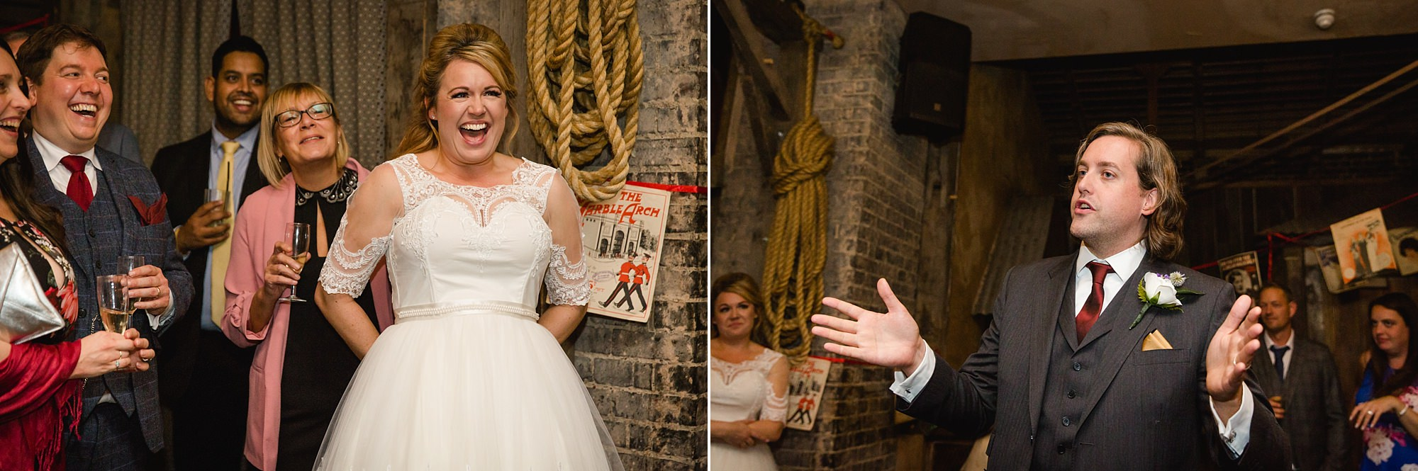 Old Marylebone Town Hall wedding photography bride laughs at groom's speech