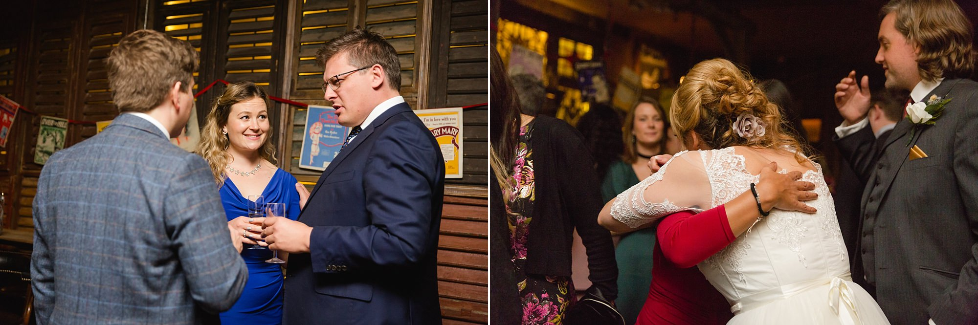Old Marylebone Town Hall wedding photography chatting guests