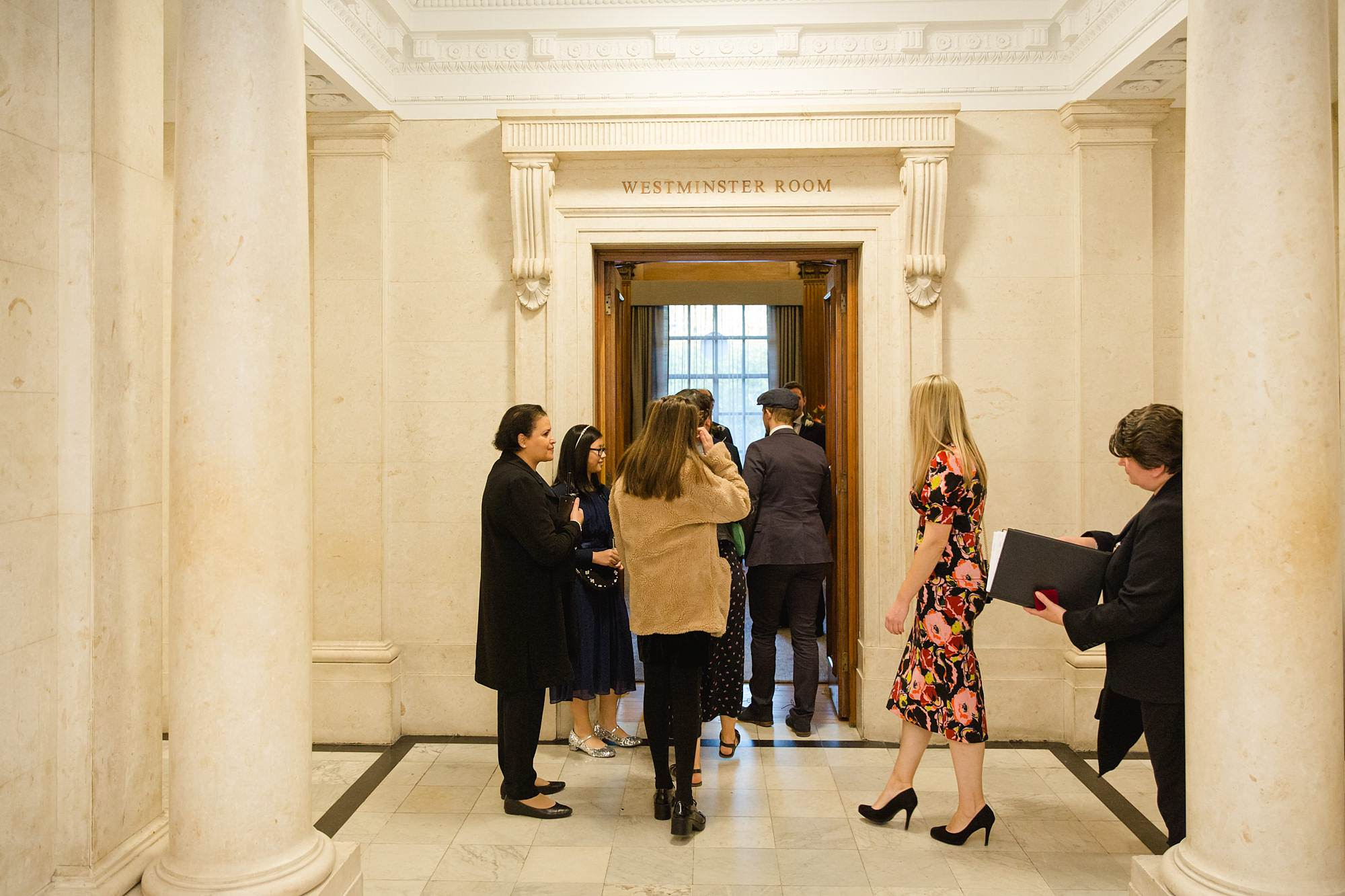Old Marylebone Town Hall wedding photography guests entering ceremony room