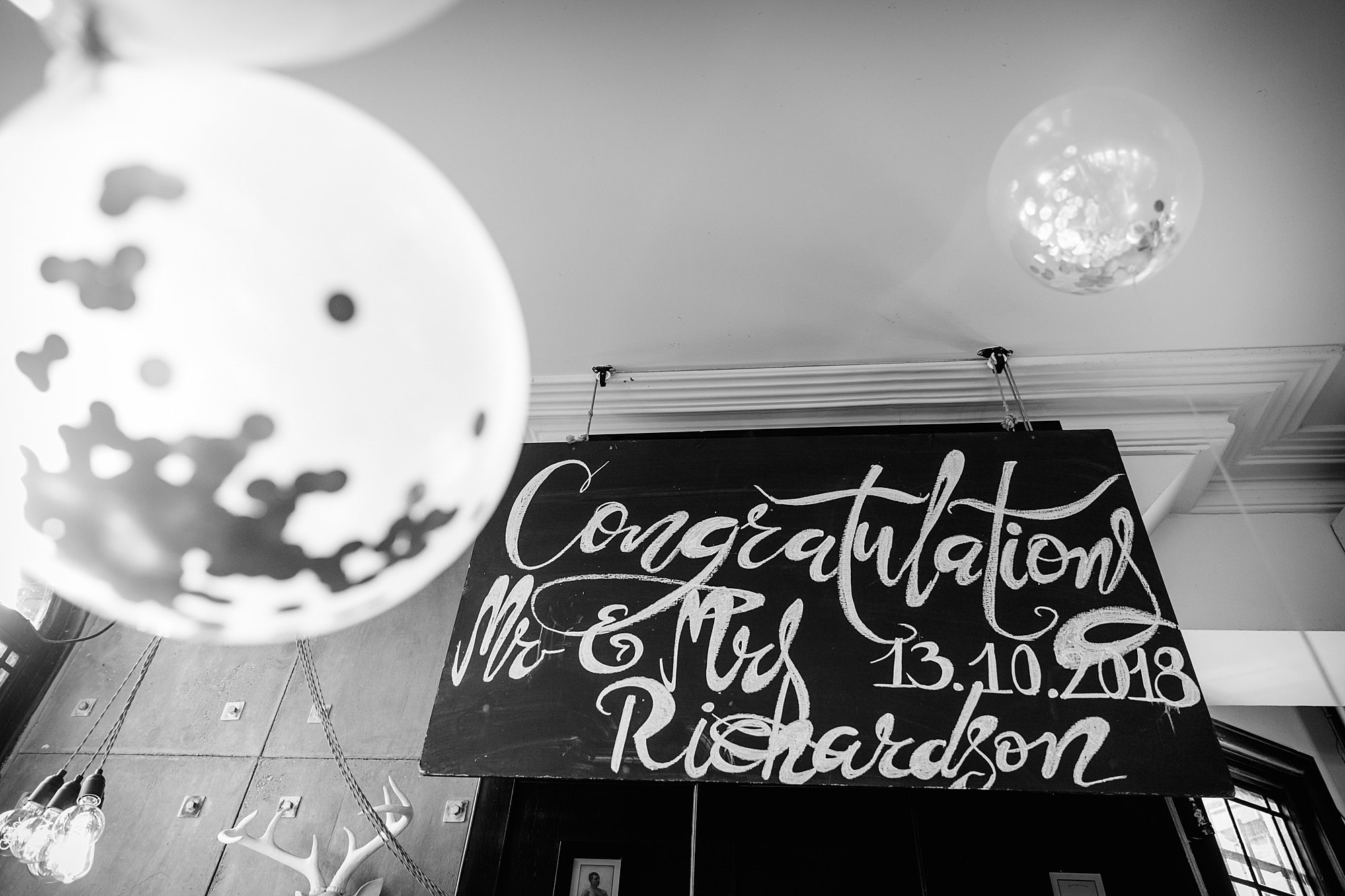 Prince albert camden wedding blackboard