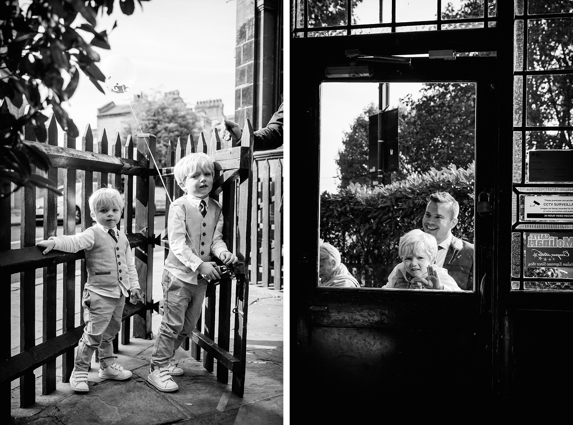Prince albert camden wedding page boys look through door