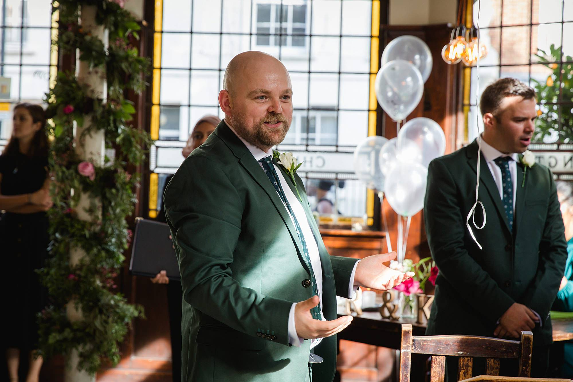 Prince albert camden wedding groom chats to guests