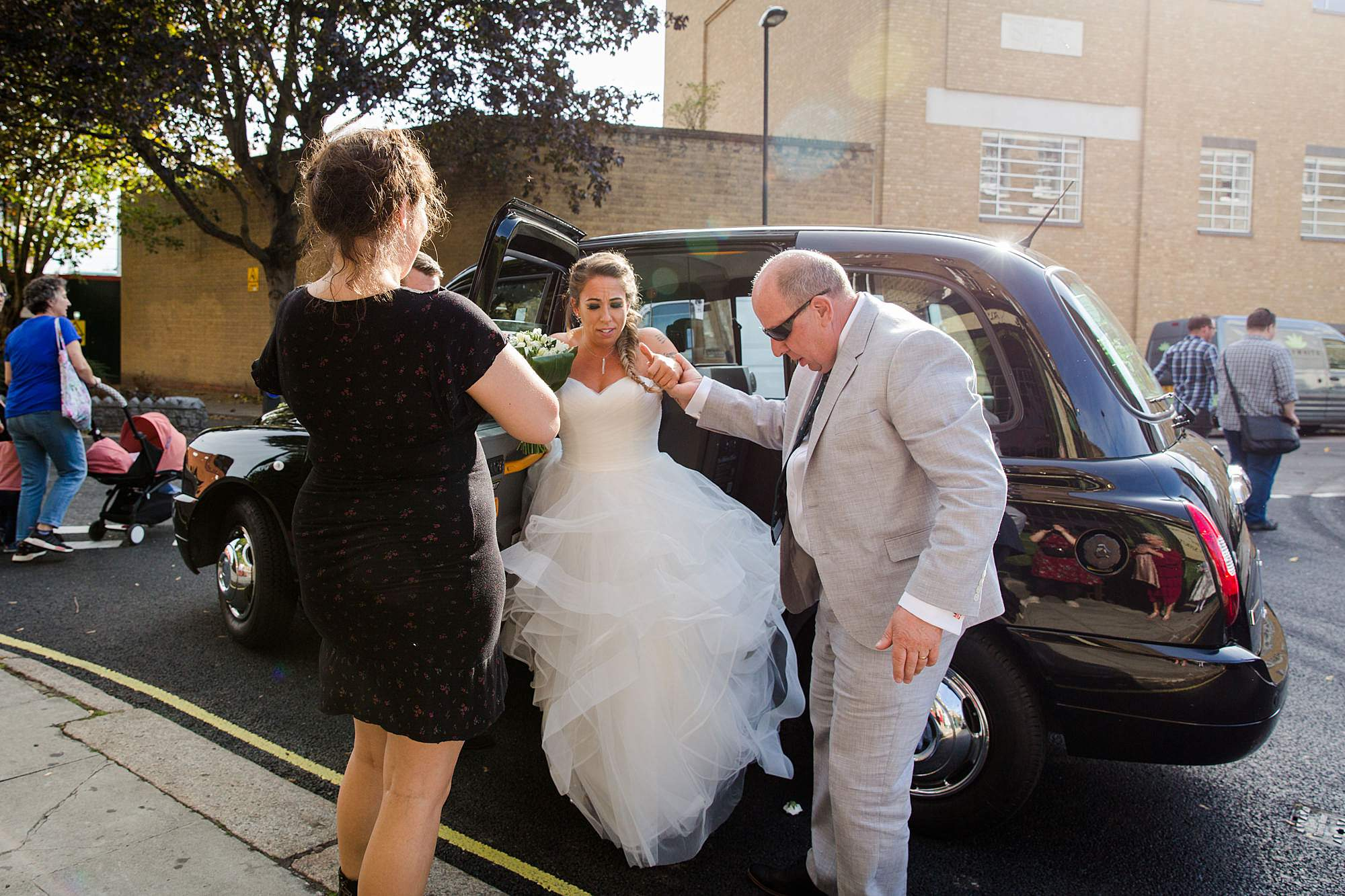 Prince albert camden wedding bride arrives in car