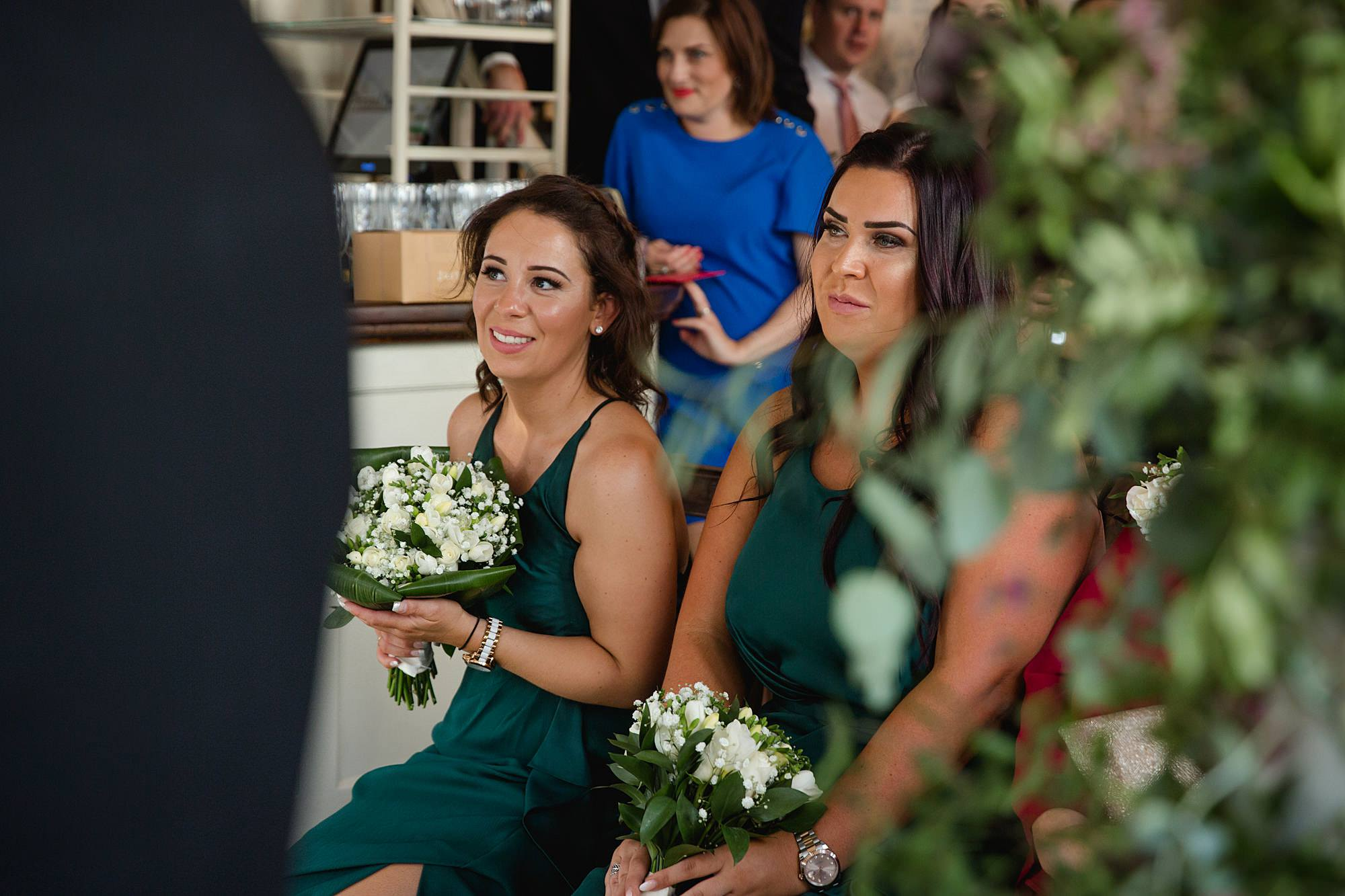 Prince albert camden wedding bridesmaids watching ceremony