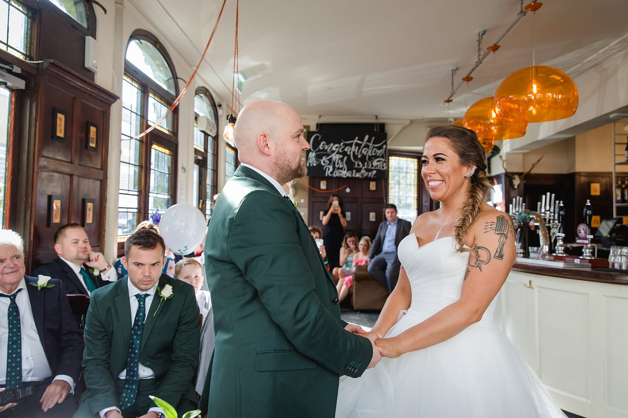 Prince albert camden wedding bride and groom exchange vows