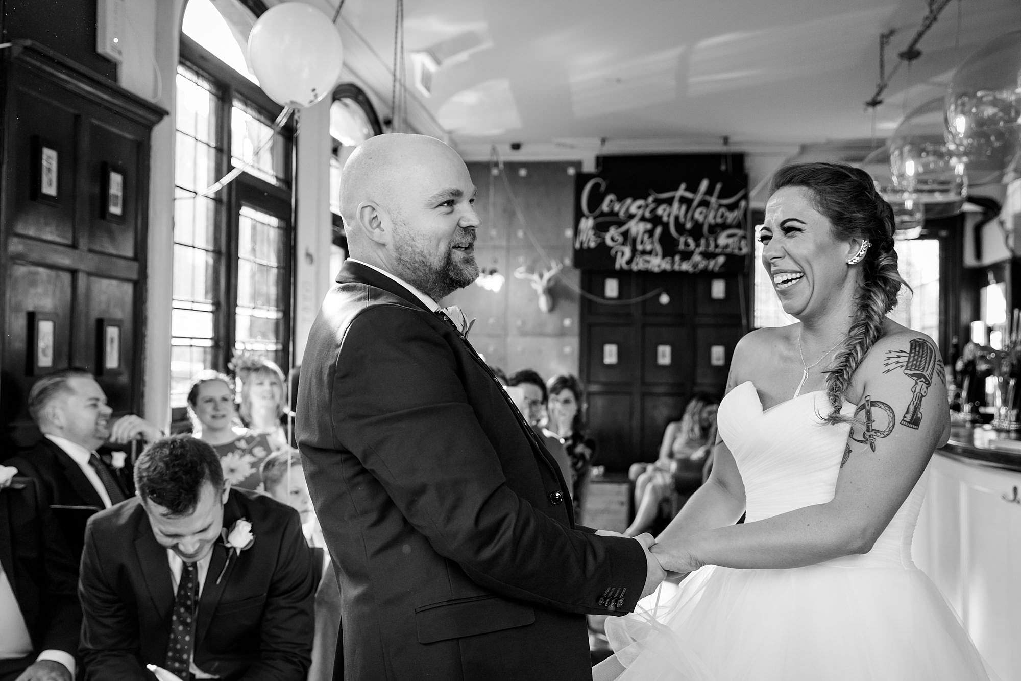 Prince albert camden wedding bride and groom laugh in ceremony