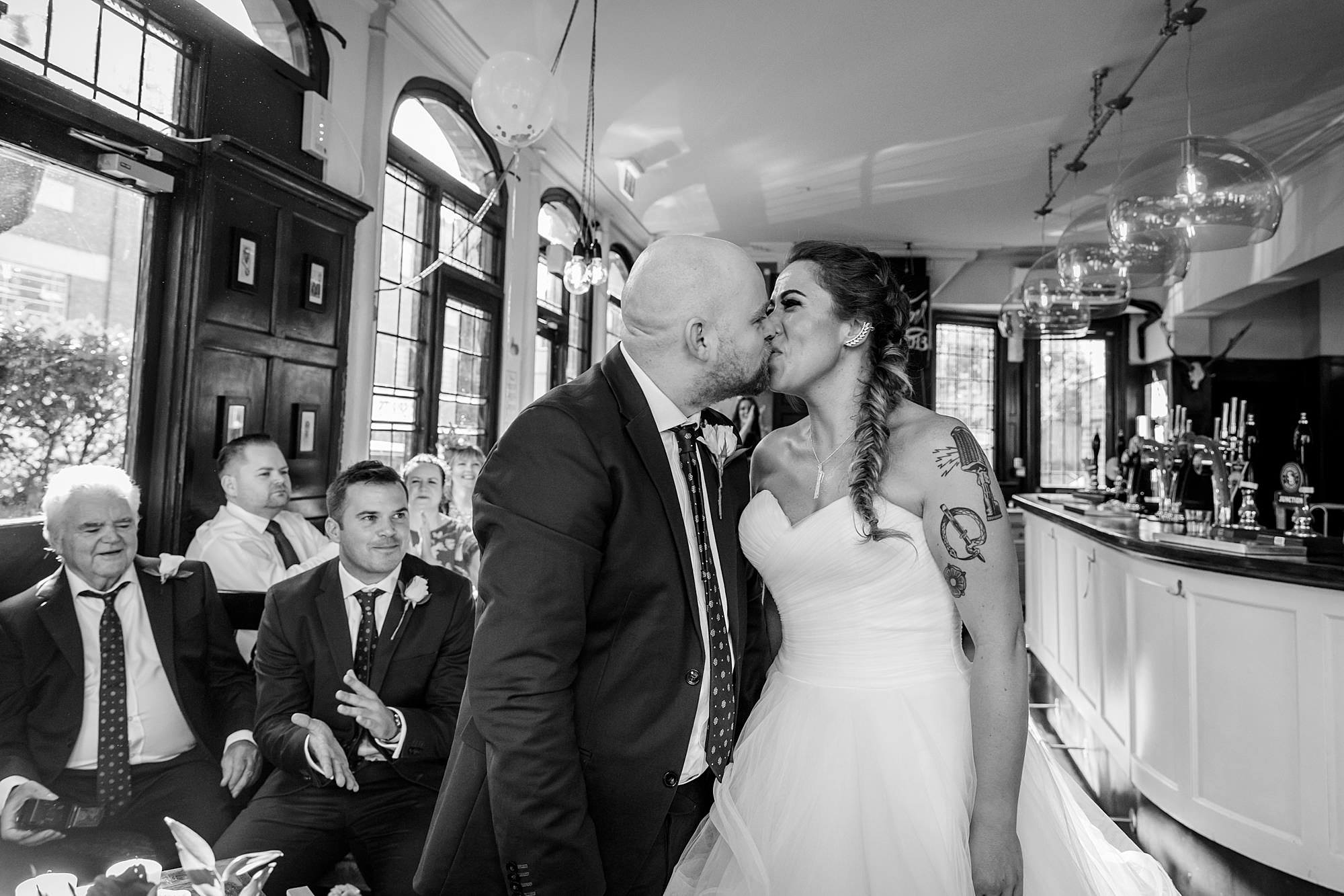 Prince albert camden wedding bride and groom first kiss