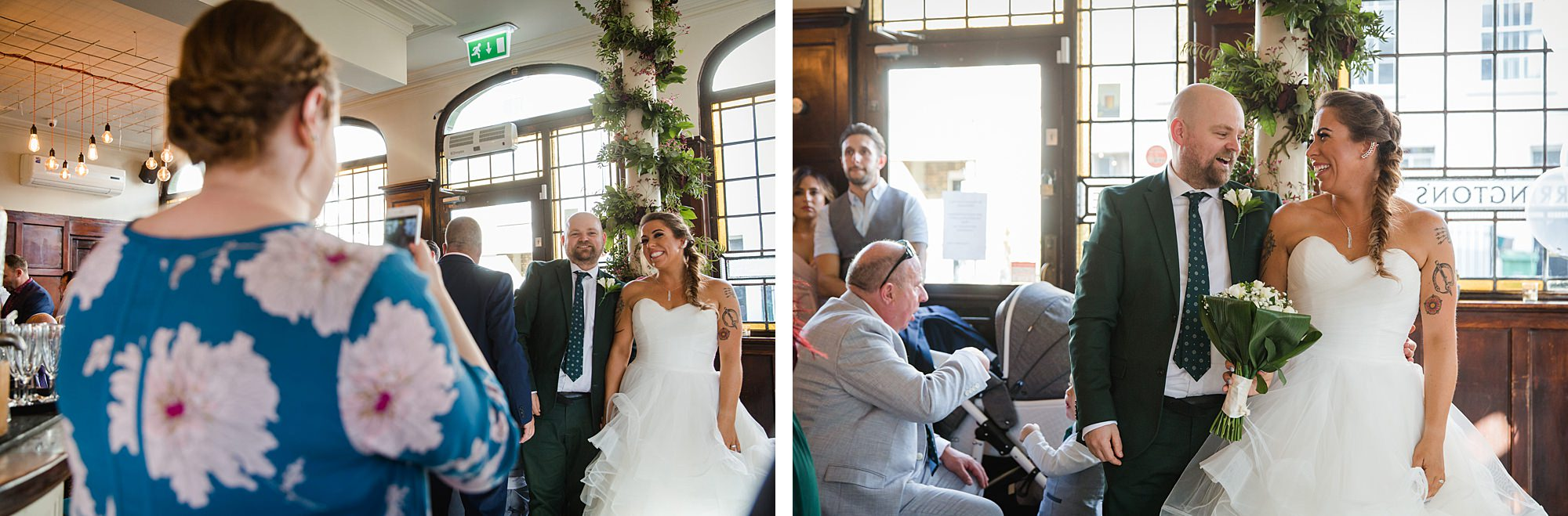 Prince albert camden wedding guests take pictures of couple