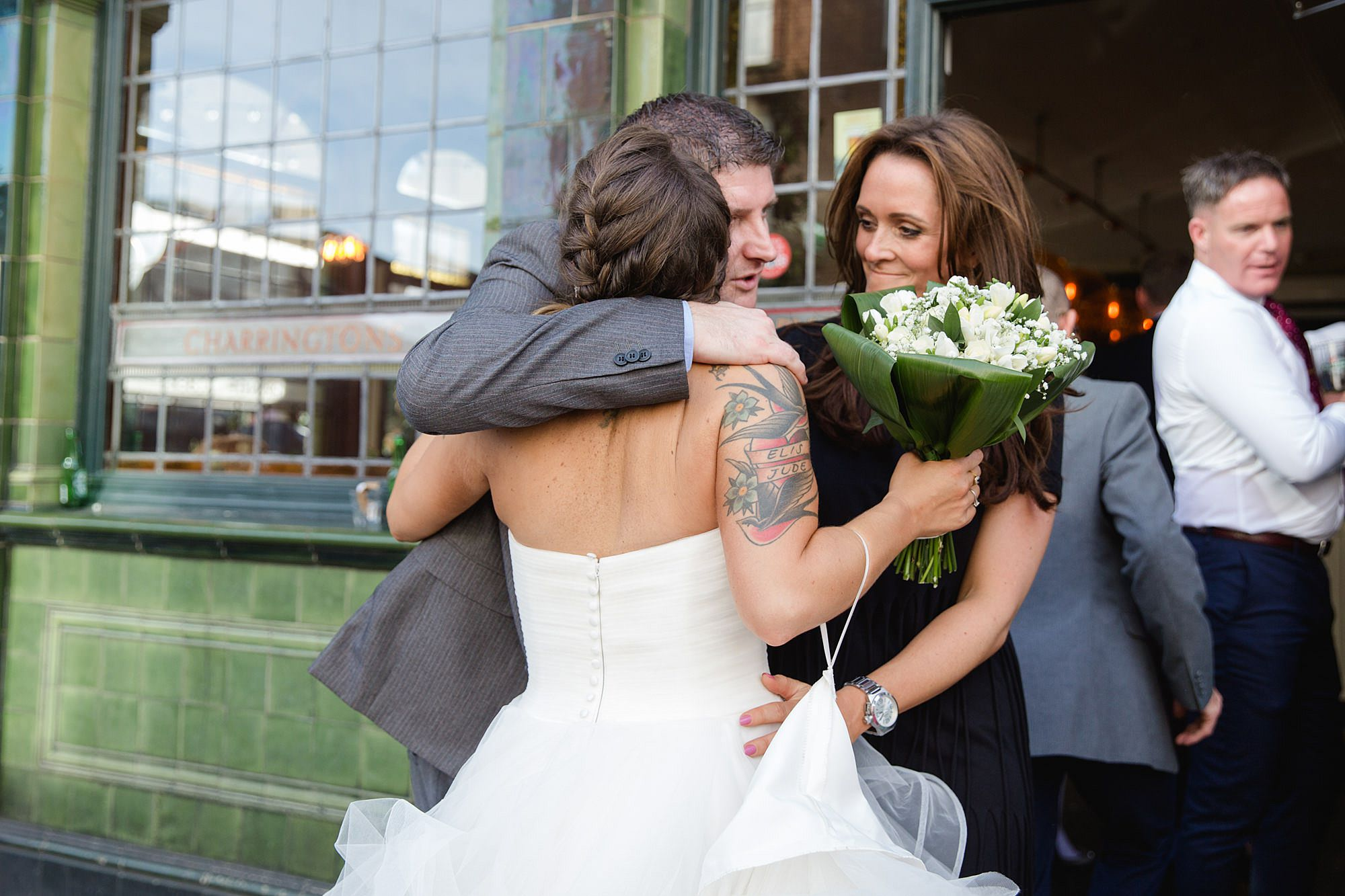 Prince albert camden wedding guest hugs bride