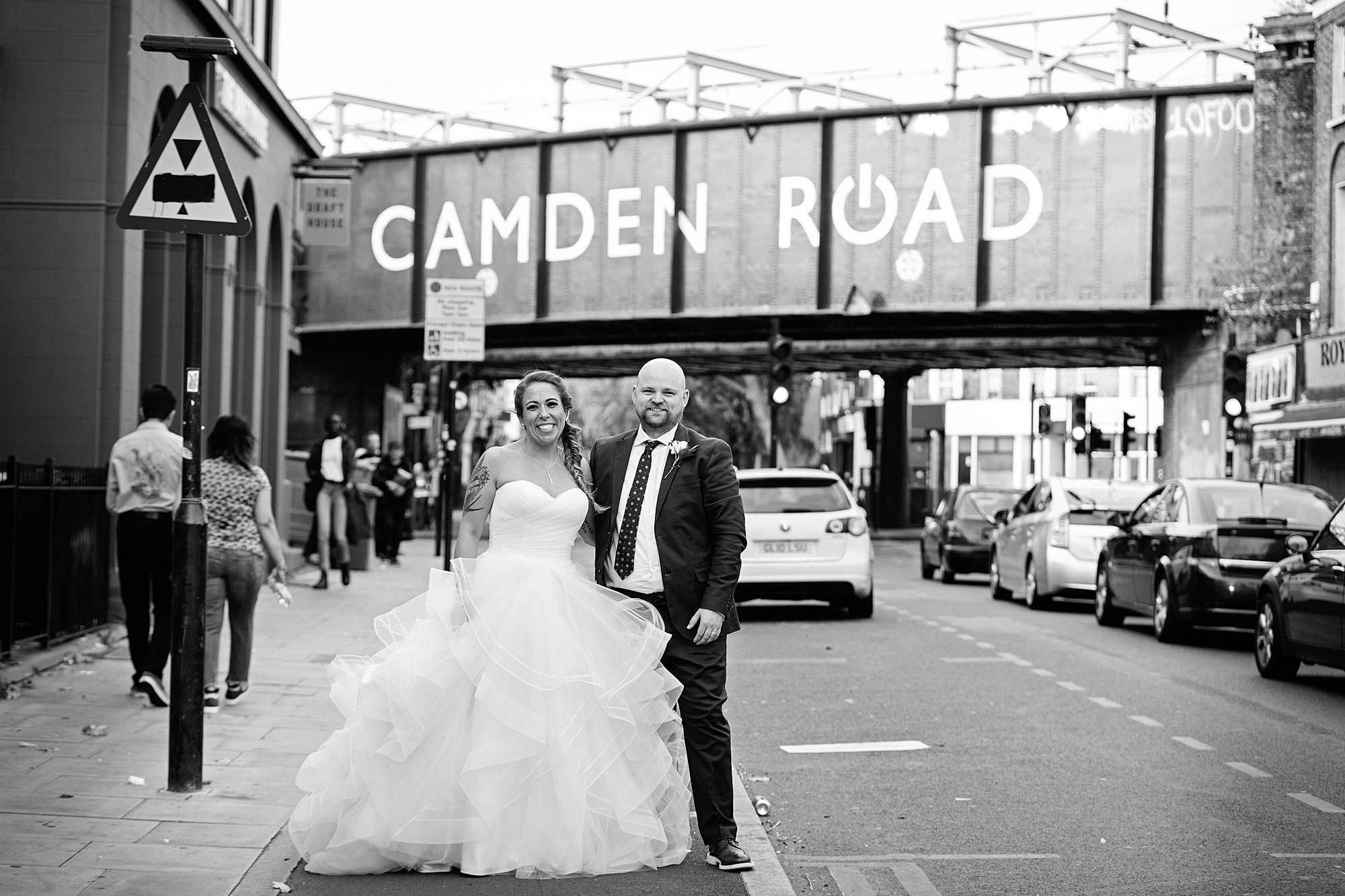 Prince albert camden wedding bride and groom on camden road