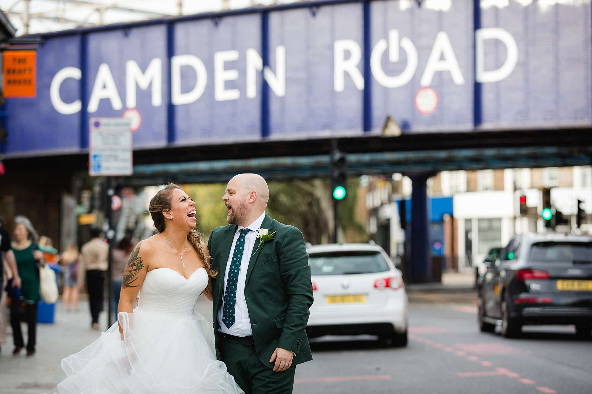 Prince albert camden wedding laughing bride and groom