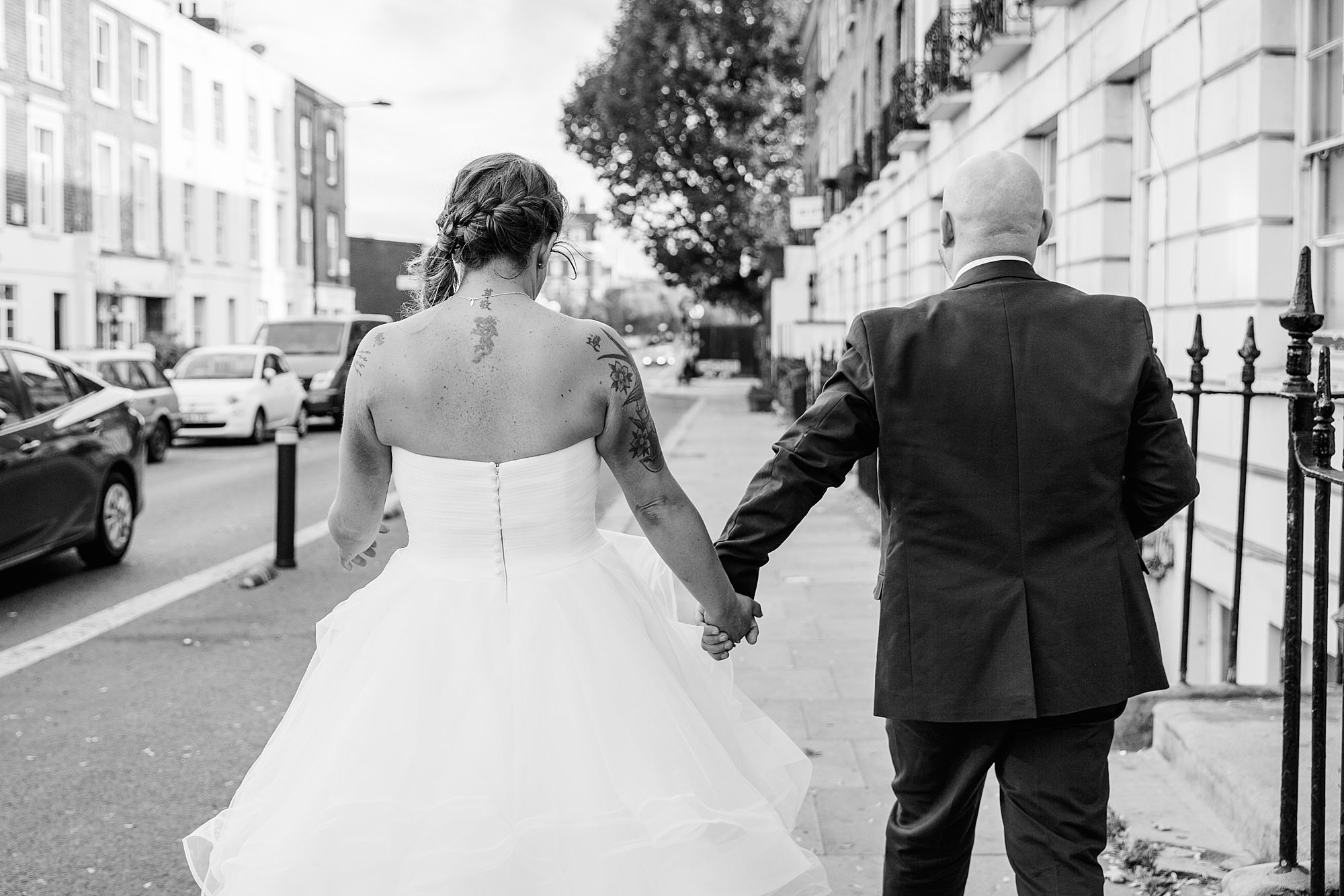 Prince albert camden wedding bride and groom walking