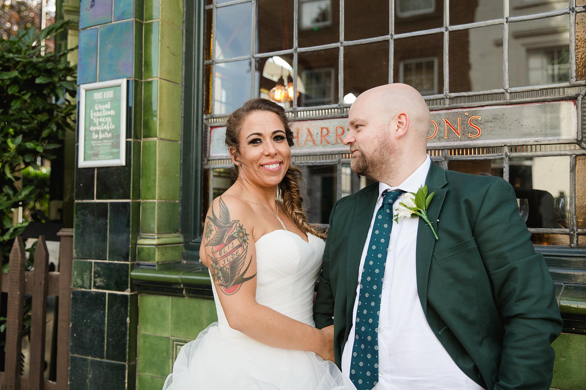 Prince albert camden wedding bride and groom outside pub