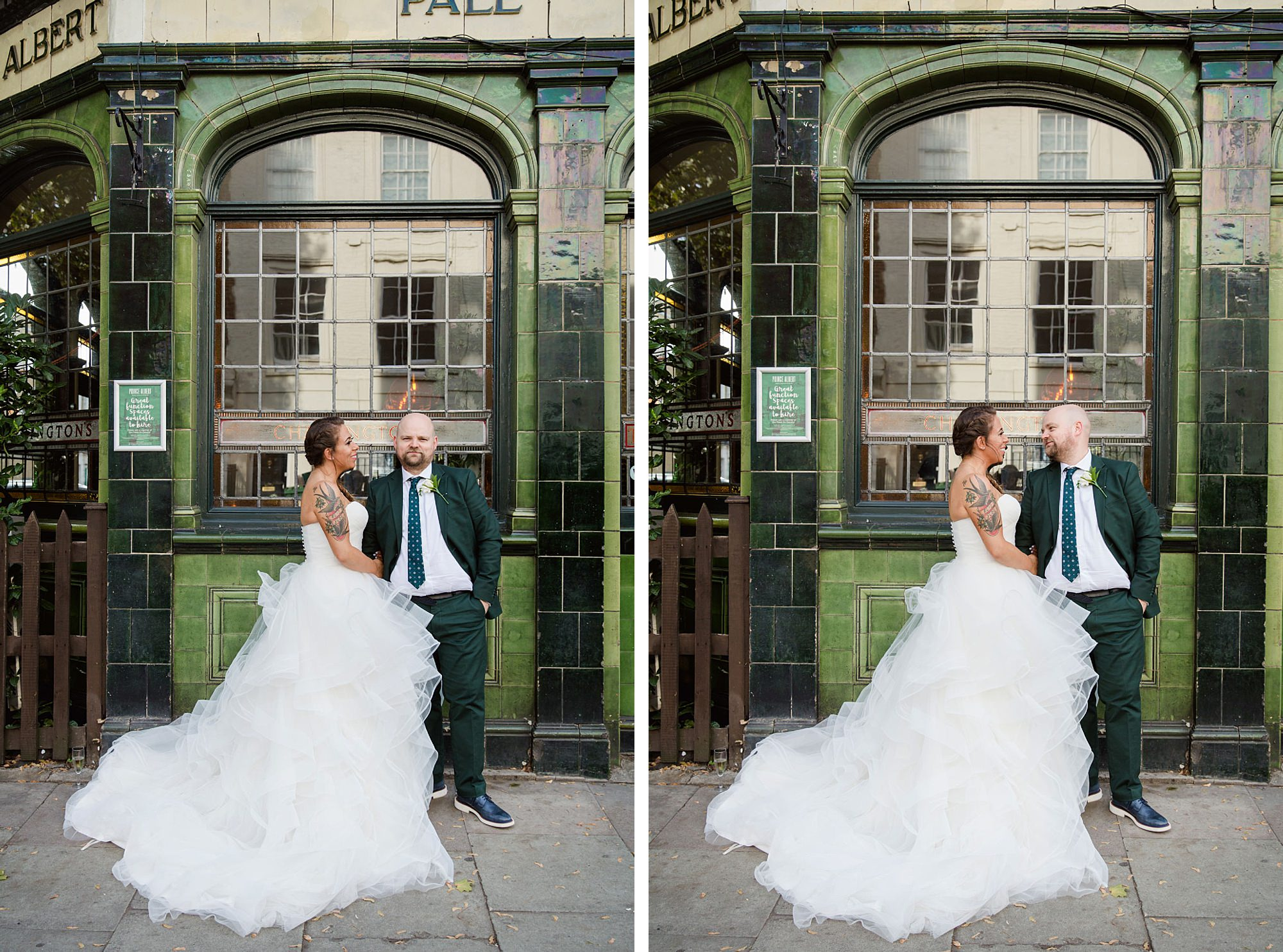 Prince albert camden wedding bride and groom stand outside pub