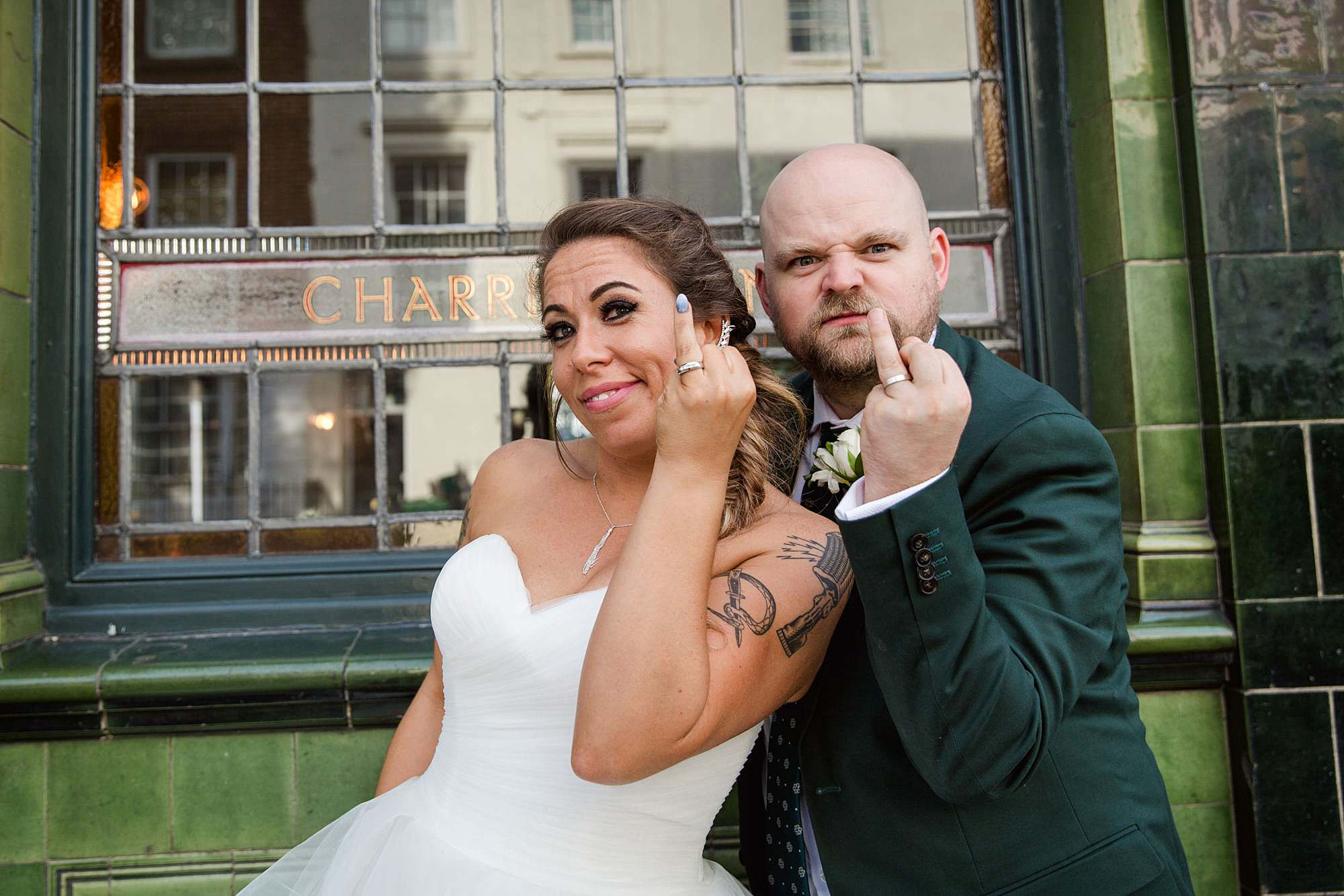 Prince albert camden wedding bride and groom show off wedding rings