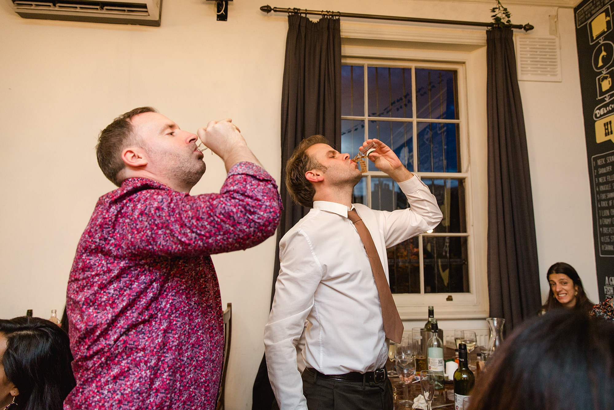 Prince albert camden wedding guests do a shot