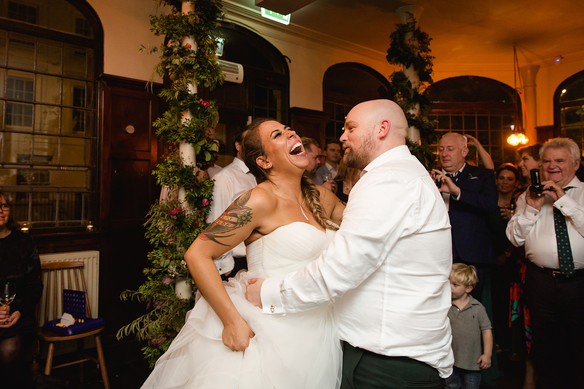 Prince albert camden wedding bride and groom laugh in first dance